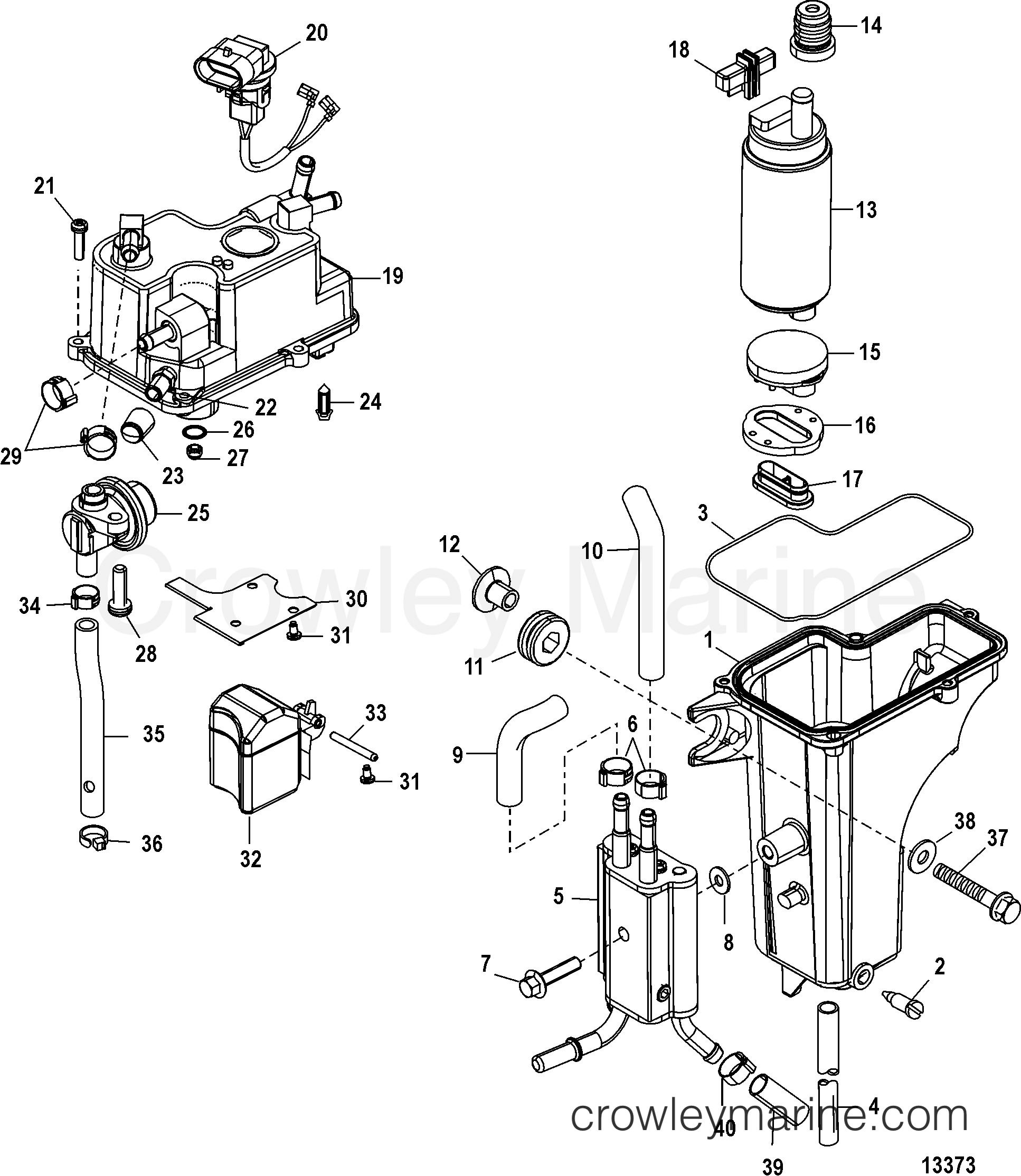 Serial Range Mariner Outboard 40 EFI (4 CYL.)(4-STROKE) - 0P401000 THRU 0P515896 [BEL] - VAPOR SEPARATOR section