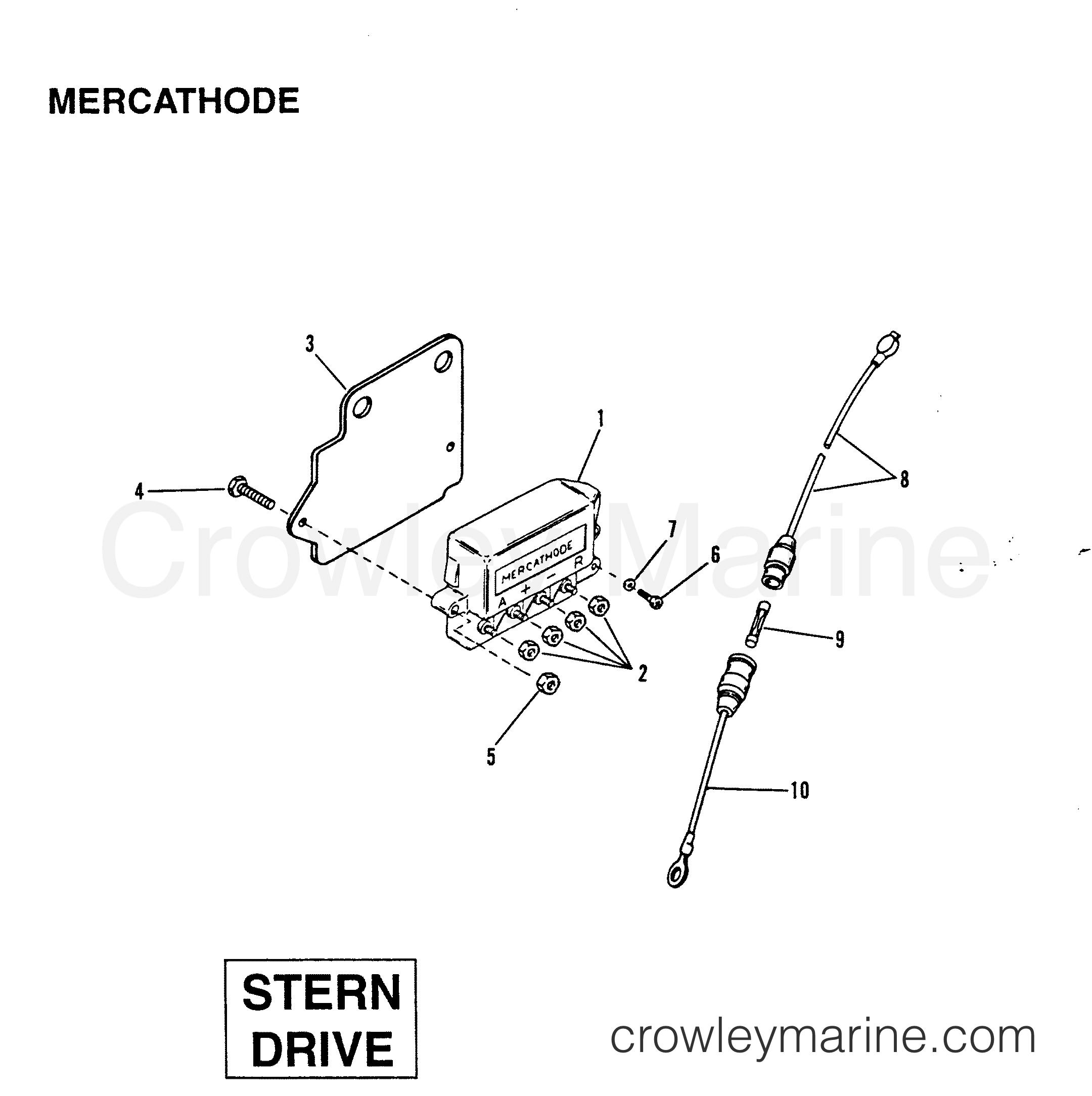 1991 Mercury Inboard Engine 642D - 34232C5DD MERCATHODE (STERN DRIVE) section