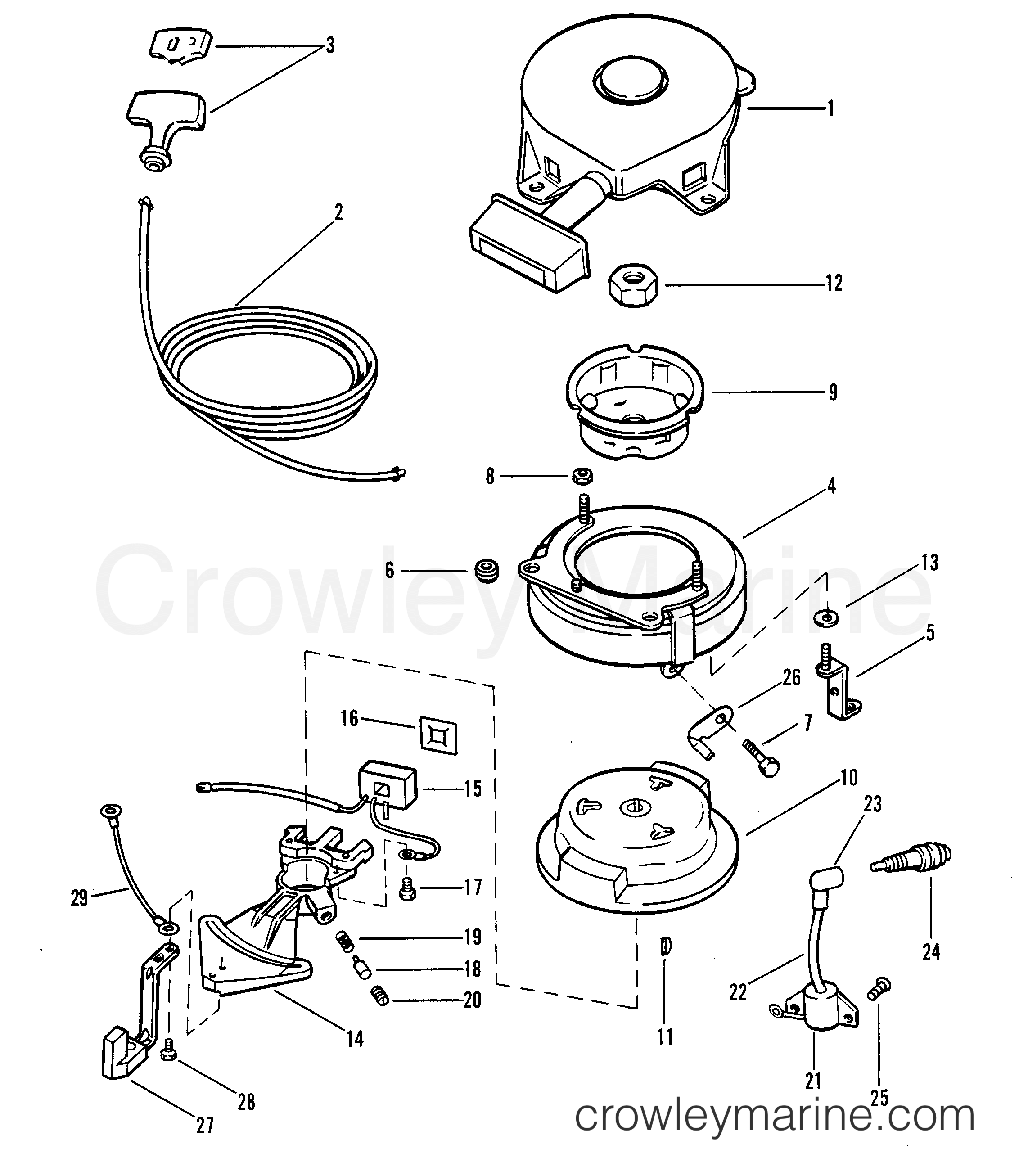 recoil starter and flywheel