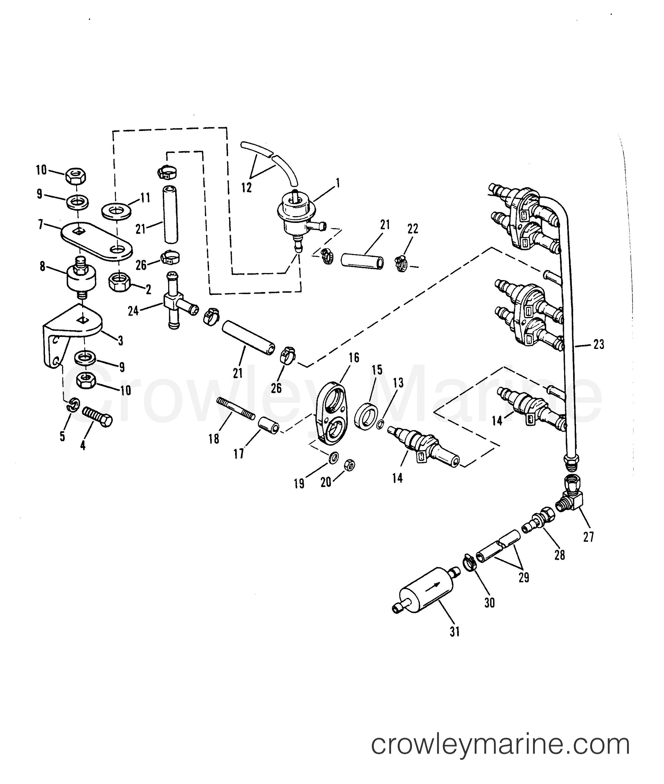 1993 Hors-bord de course Mercury 2.5 [L EFI] - 7925211BH - INJECTEURS DE CARBURANT section