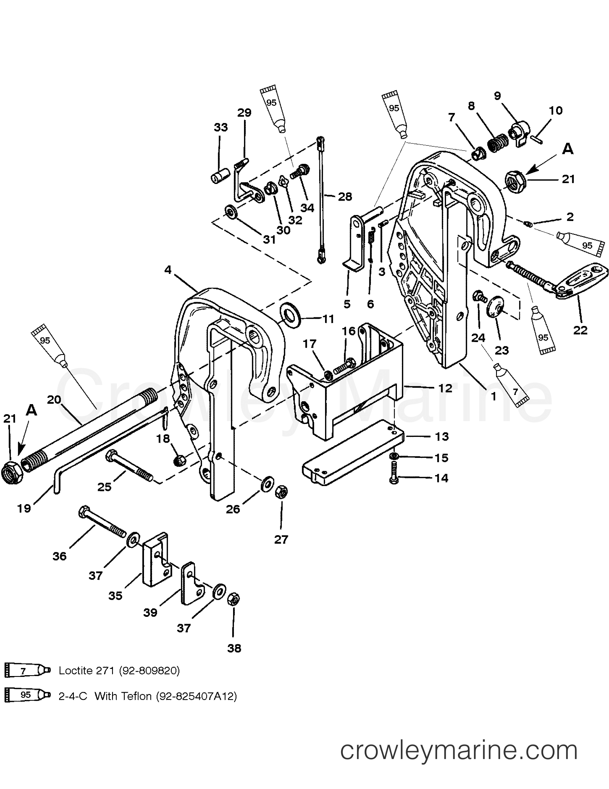 1996 Mariner Outboard 40 [ELHPTO] - 7040411ED CLAMP BRACKET (THUMB SCREW DESIGN) (S/N D181999 & BELOW) section