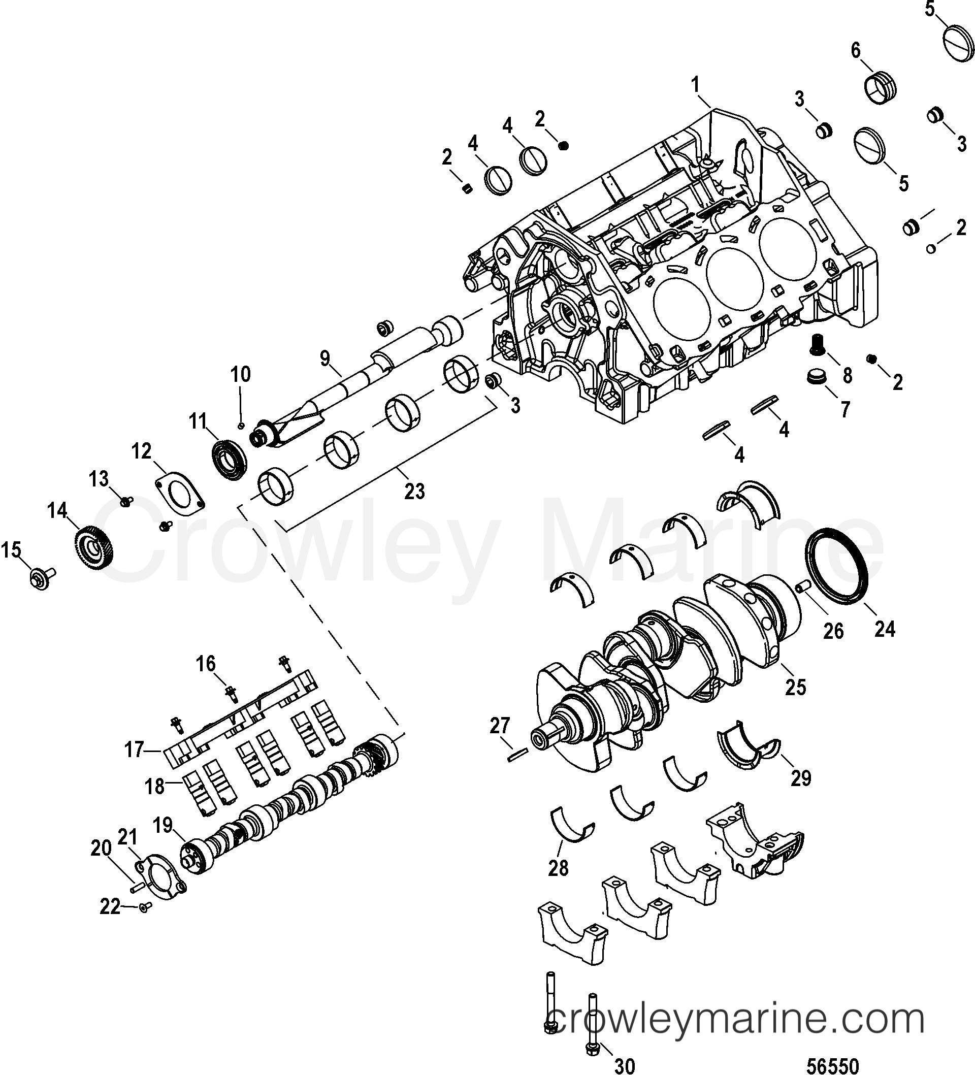 2014 Mercruiser 4.5L [BRAVO MPI] - 40450058A CYLINDER BLOCK, CAMSHAFT, CRANKSHAFT, AND BALANCESHAFT section