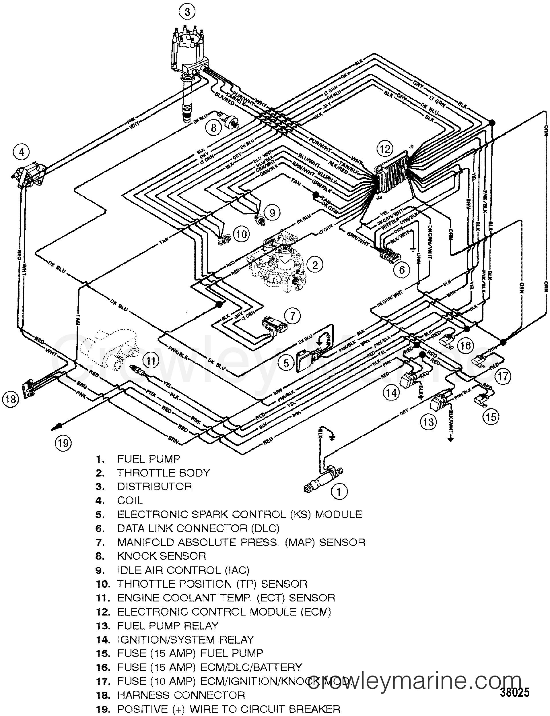 wiring harness efi 1996 mercruiser 7 4lxtbi bravo 474l111js rh crowleymarine com Mercury Tachometer Wiring Harness Universal Wiring Harness