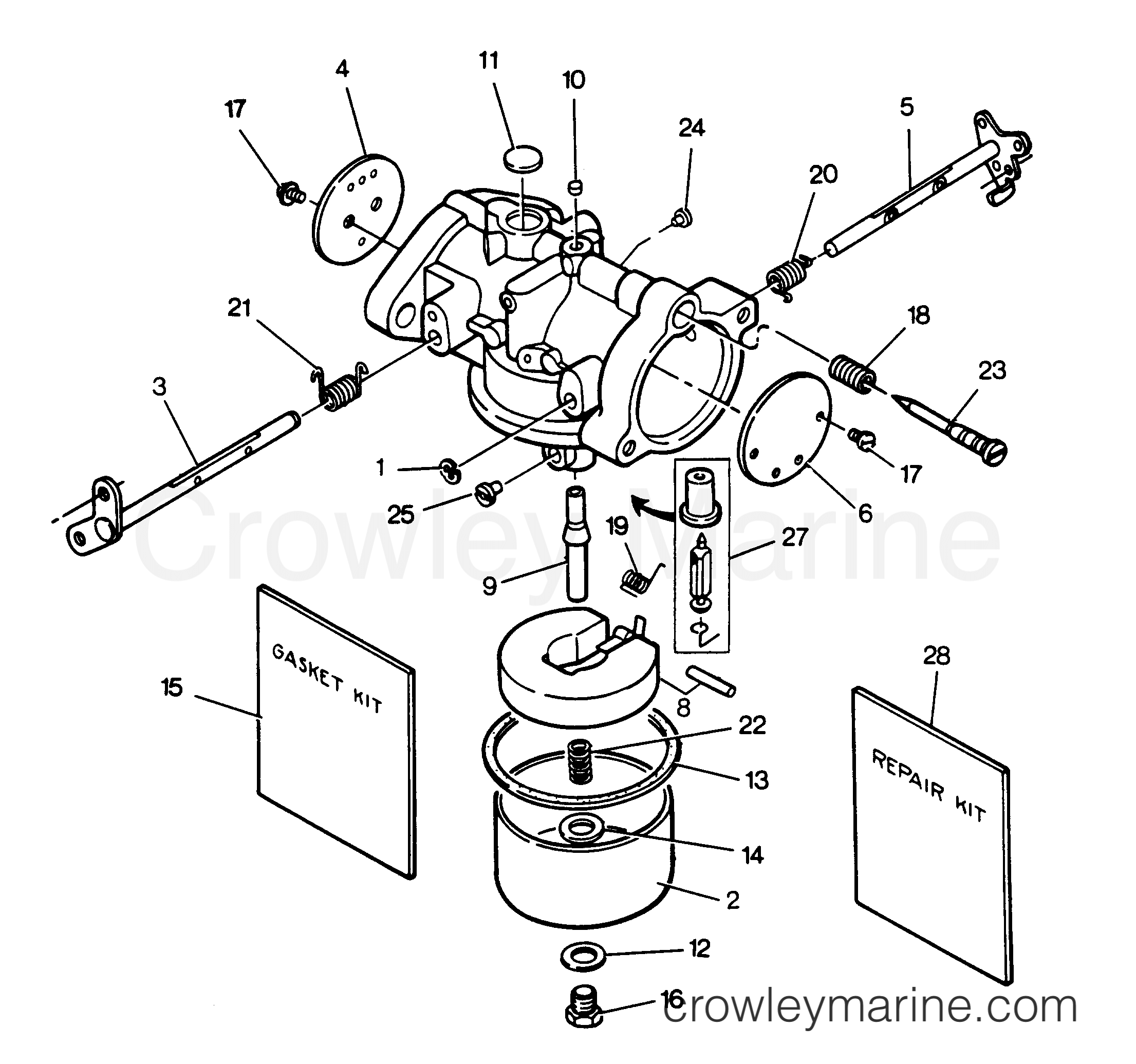 1988 Force Outboard 85 - H0851X88A - CARBURETOR section