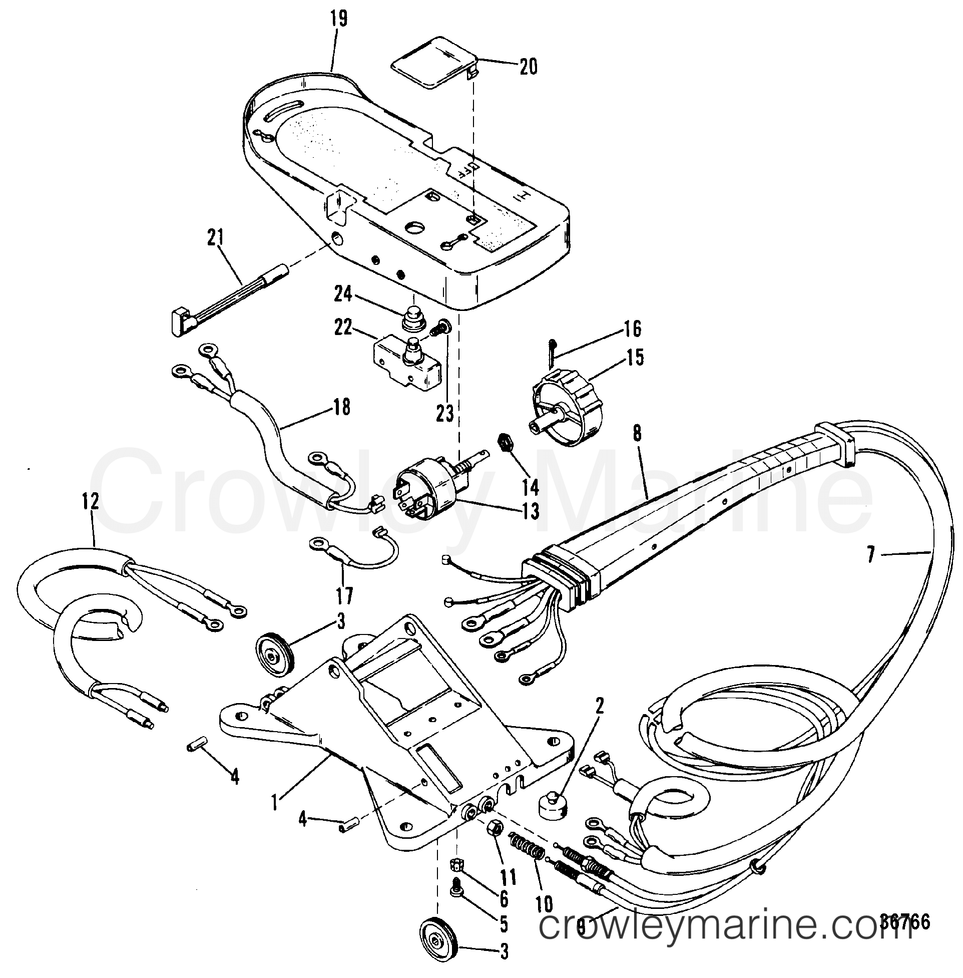 wiring harness and foot plate remote 1984 mariner outboard 222 r 7001904 crowley