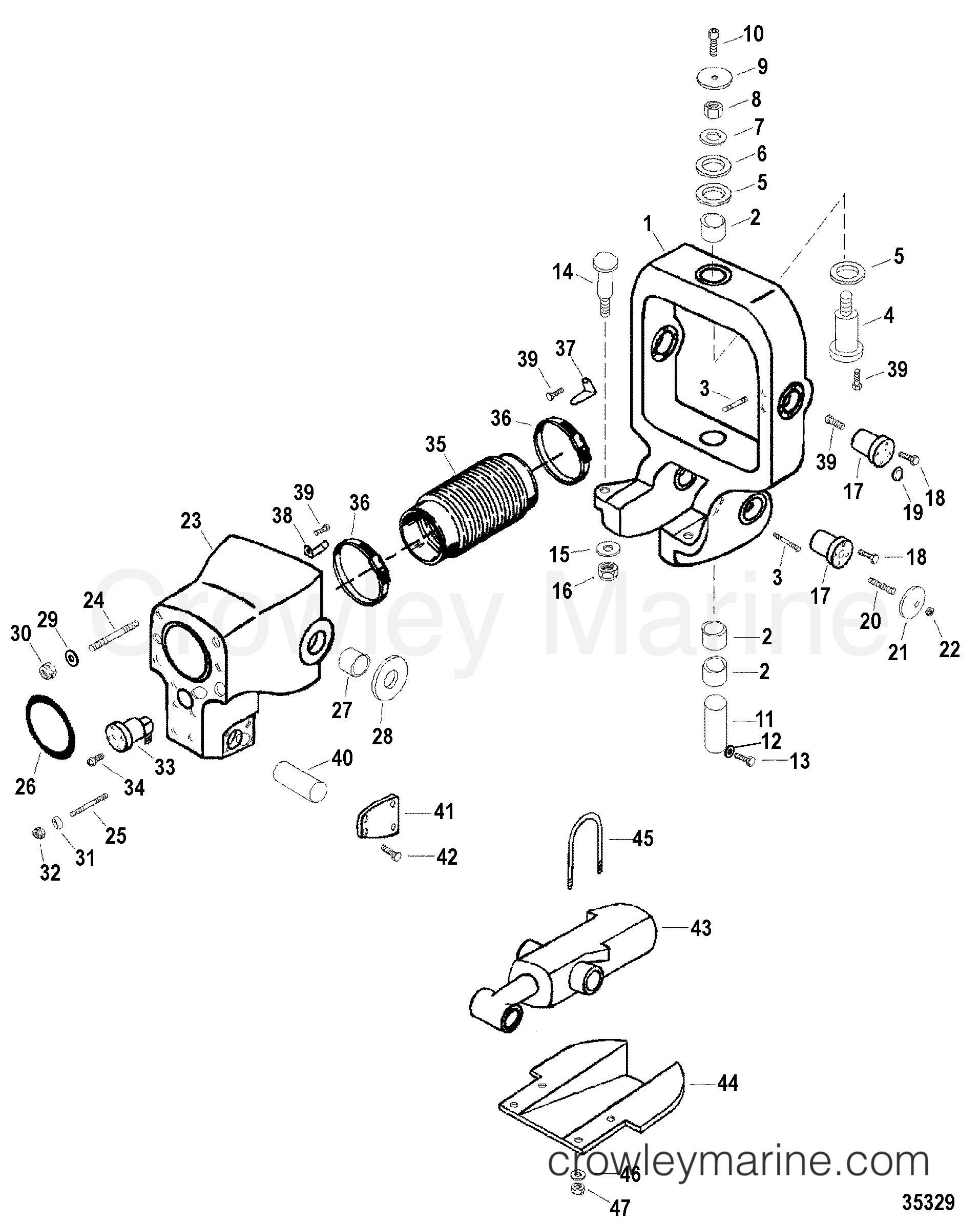 Serial Range Mercruiser Race Sterndrive SSM SIX - ALL & Up [USA] - GIMBAL RING AND BELL HOUSING ASSEMBLY(WITHOUT TRIM SENSOR) section