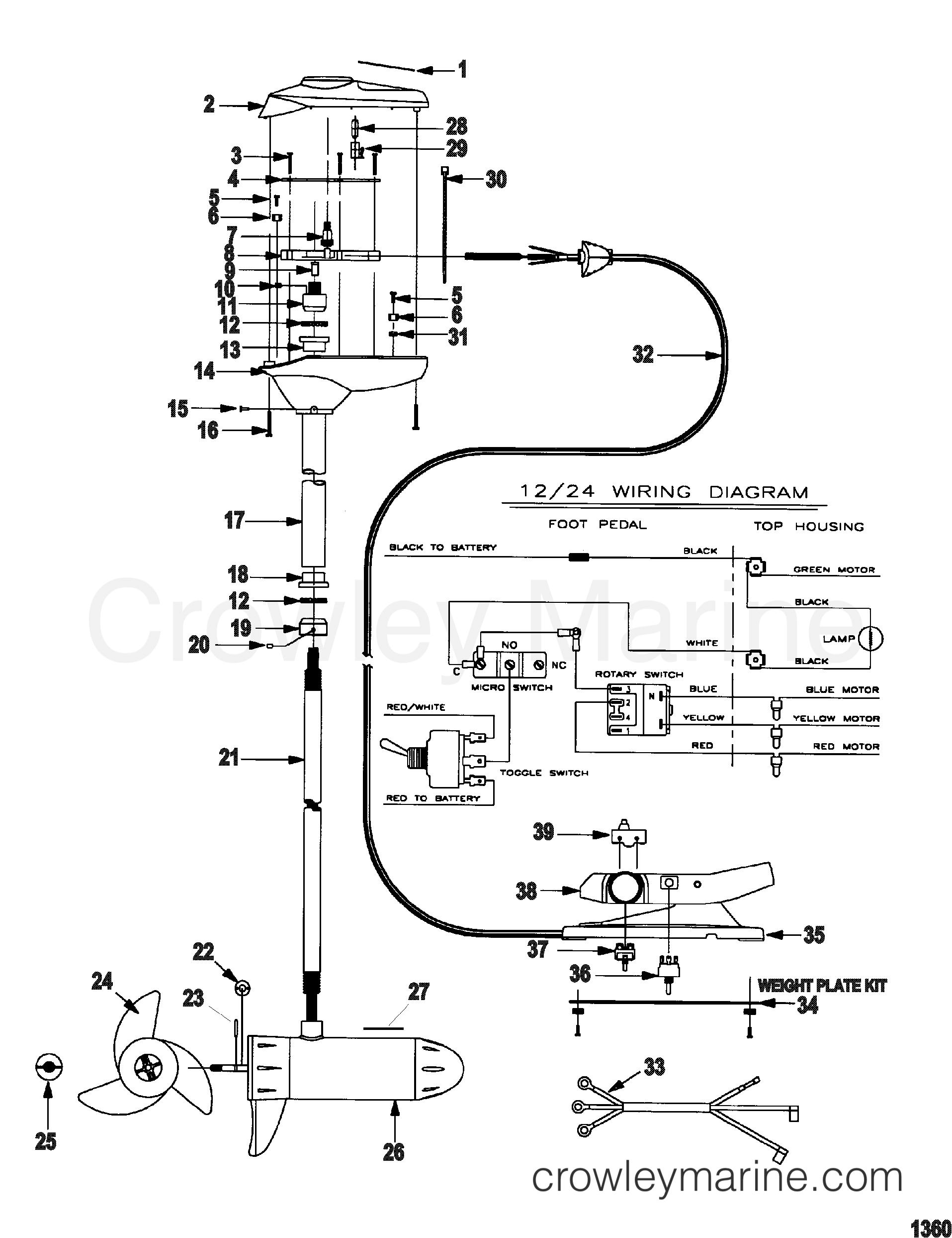 2000 MotorGuide 12V [MOTORGUIDE] - 9ET46B9W3 - COMPLETE TROLLING MOTOR(MODEL EF67P) (24 VOLT)