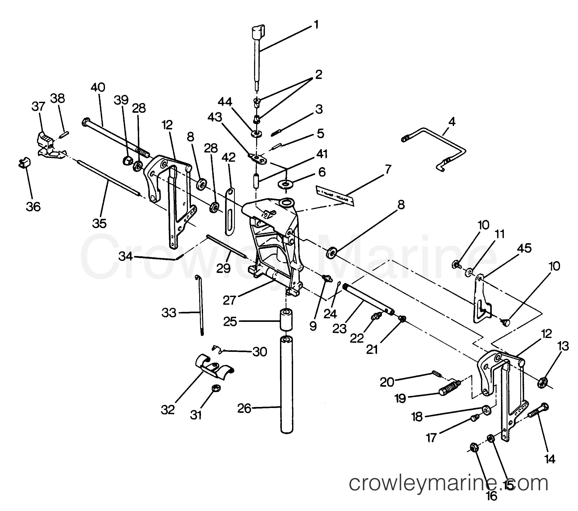 swivel bracket and stern brackets models without power trim