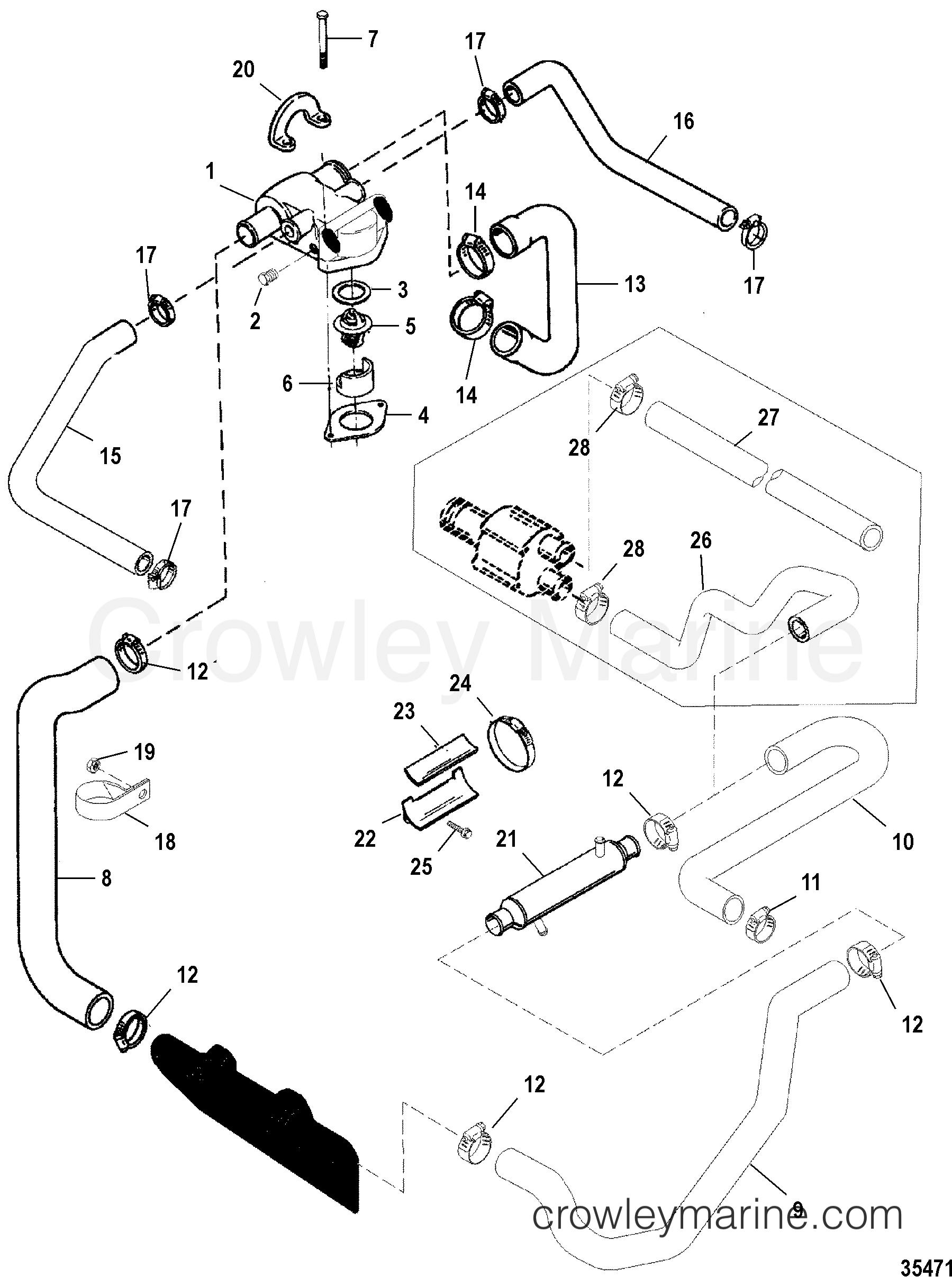1998 mercruiser 5 0l [alpha efi] - 4m31027ls - standard cooling system  section