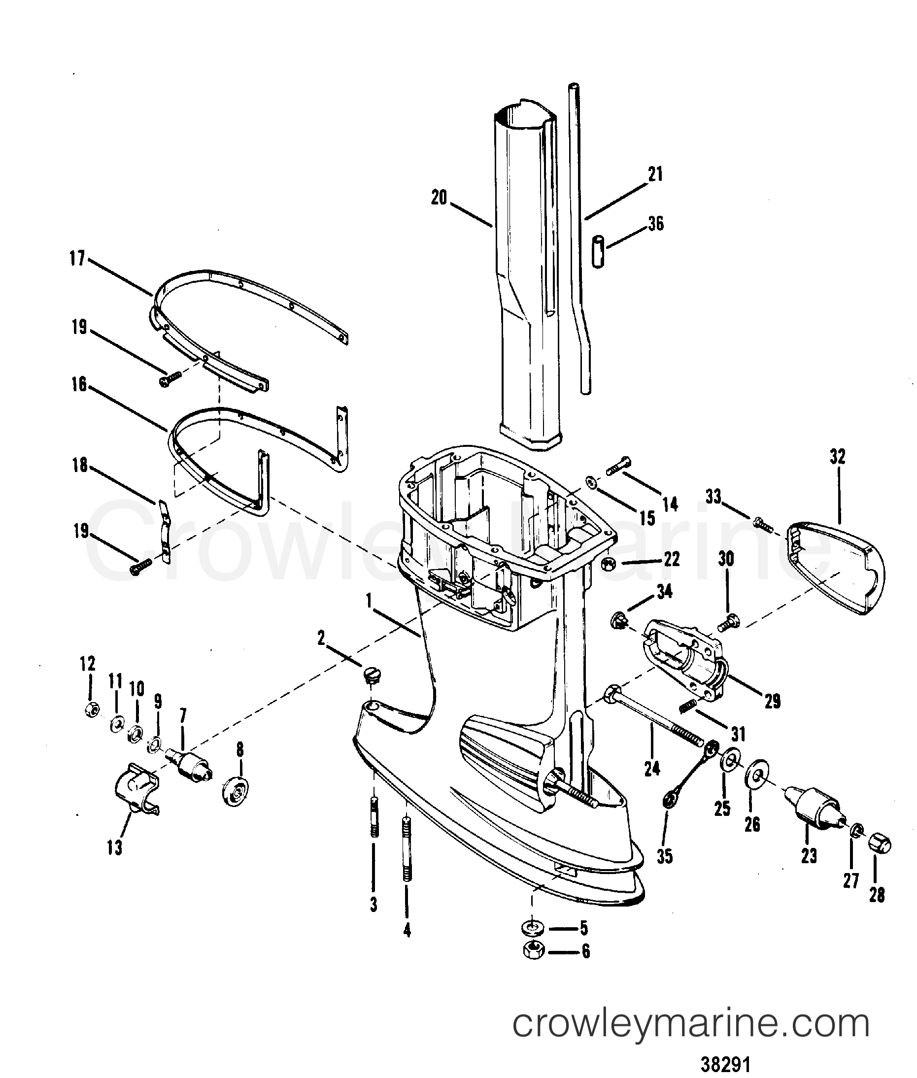 1980 Mercury Outboard 70 [ELPT] -  1070620 DRIVESHAFT HOUSING ASSEMBLY section