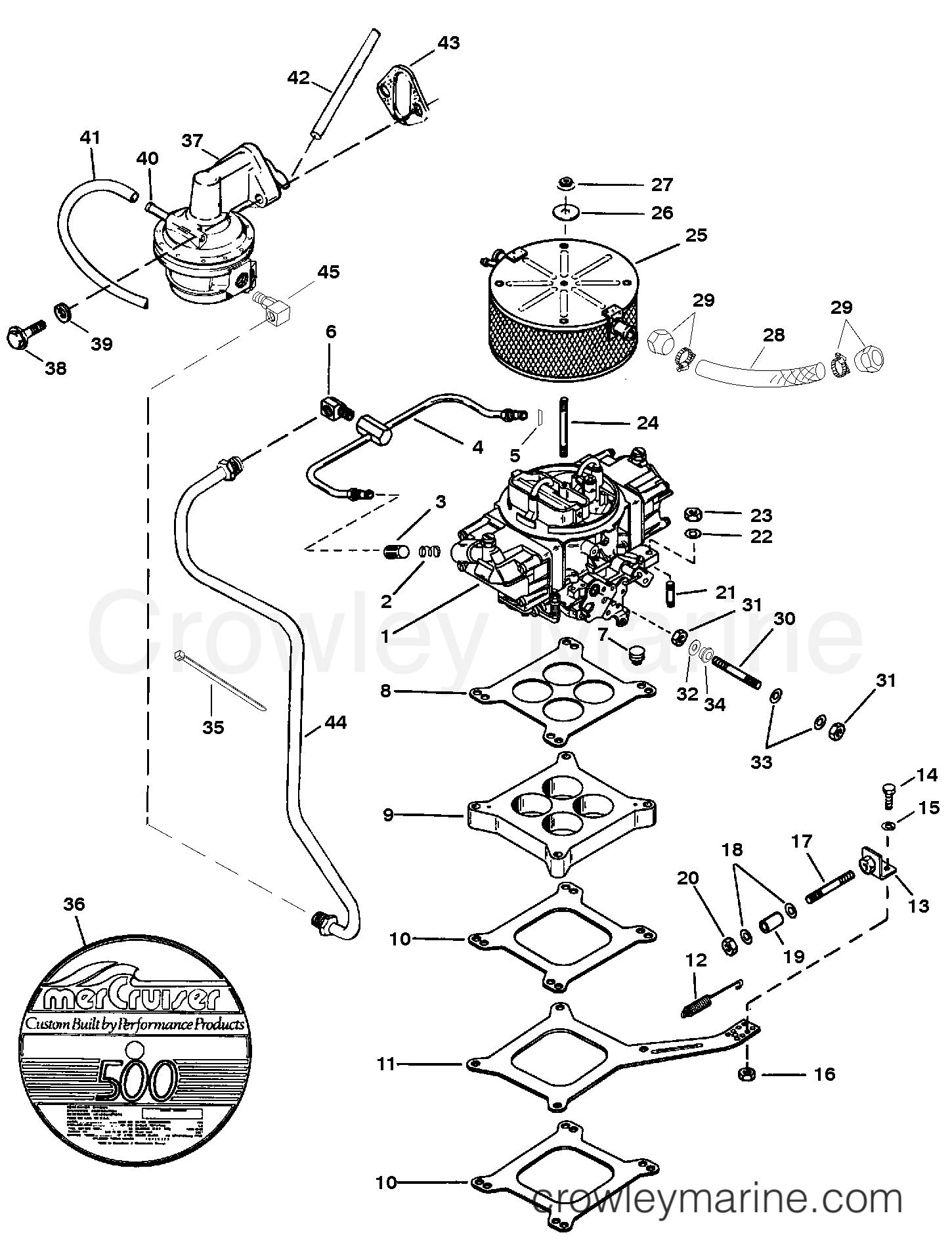 1992 Mercruiser Race Sterndrive 500 [III/IV] - 4500440EH CARBURETOR AND LINKAGE (SERIAL # 0F615762 THRU 0F745405) section