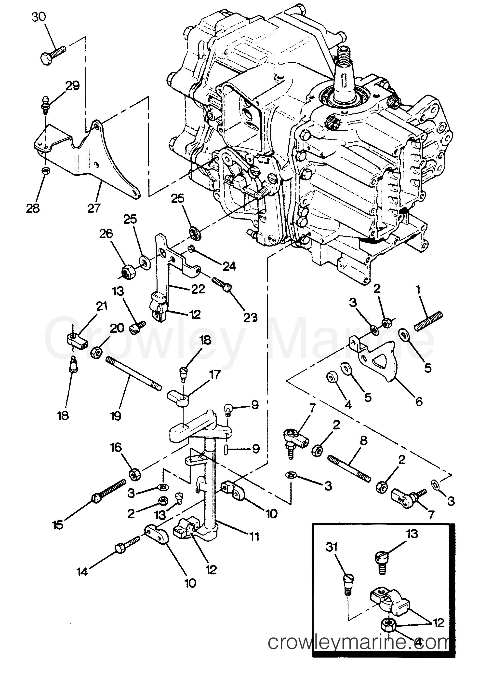 1988 Hors-bord Force 50 - 507X8B [Force] - LIAISONS DE CHANGEMENT ET D'ACCÉLÉRATEUR section