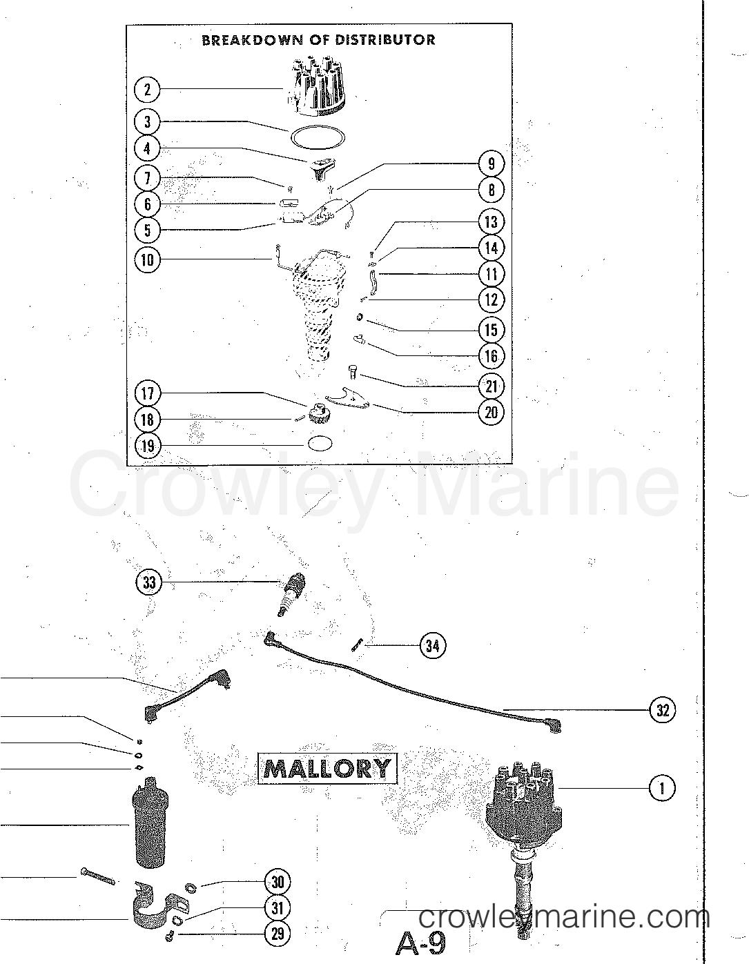 Distributor Assembly Mallory Serial Range Mercruiser 228 4 Bbl 1978 Wiring Diagram Gm 305 V 8 1977
