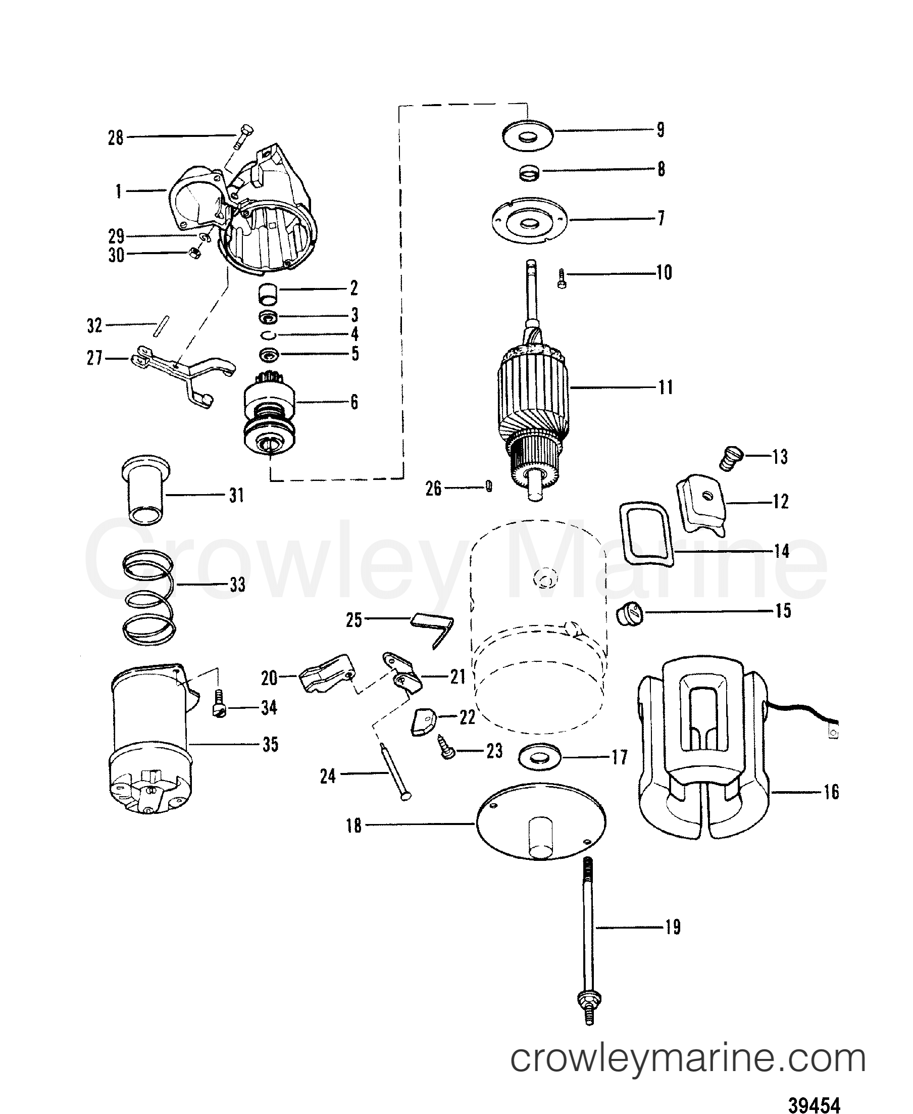 starter motor assembly 1985 mercruiser 170 01701335 crowley marine