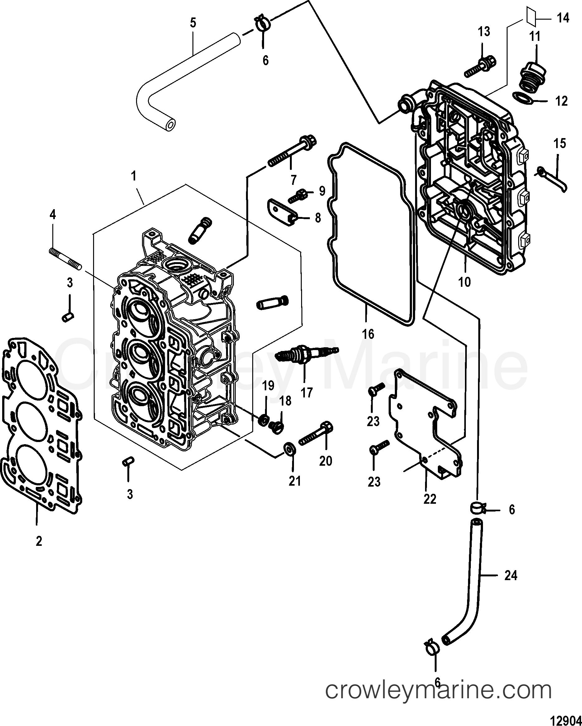 Cylinder Head Serial Range Mercury Outboard 25 Efi 3