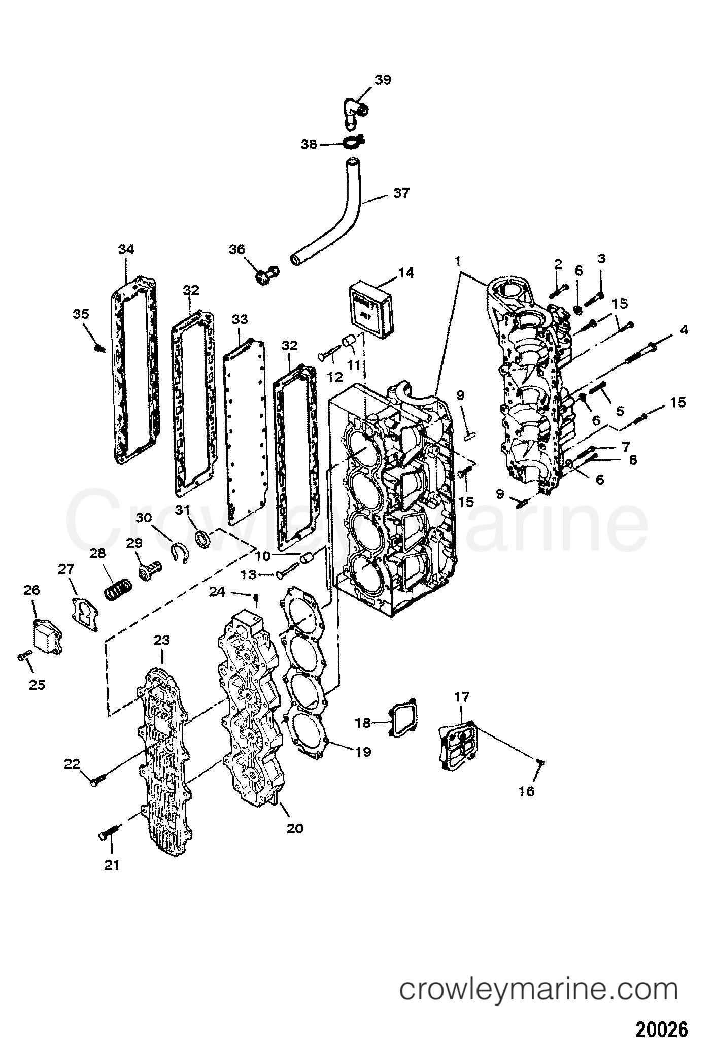 cylinder block assembly serial   0e173428 thru 0e287999