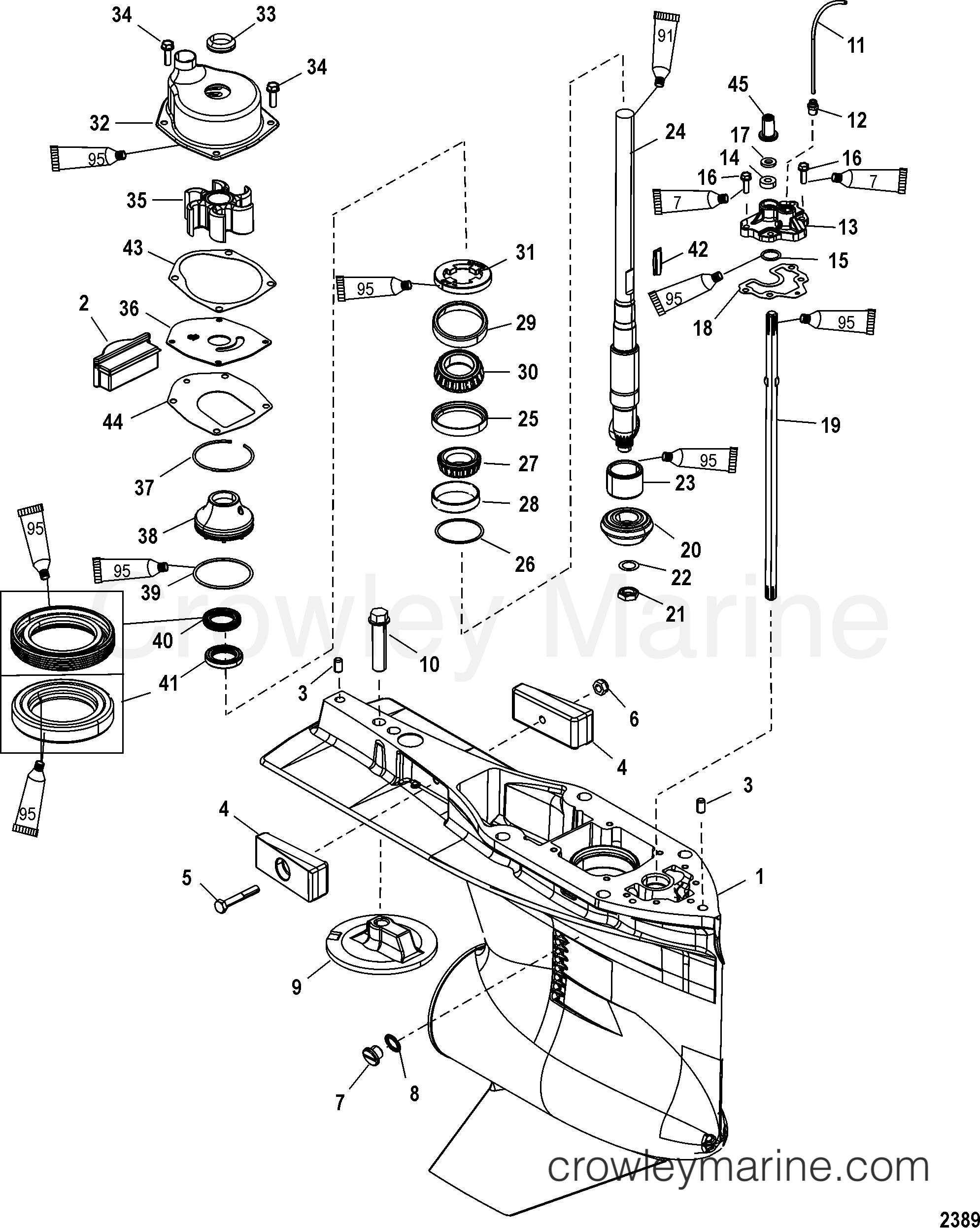 Serial Range Mariner Outboard 250 VERADO (4-STROKE)(6 CYL.) - 0P409357 THRU 0P464487 [BEL] GEAR HOUSING(DRIVESHAFT)(STANDARD/COUNTER ROTATION) section