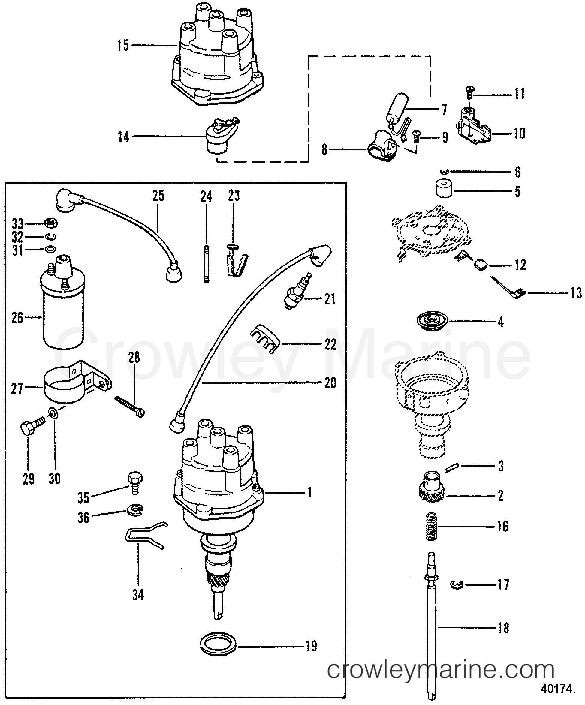 DISTRIBUTOR AND COIL - 1983 Mercruiser 470 04707333 | Crowley MarineCrowley Marine