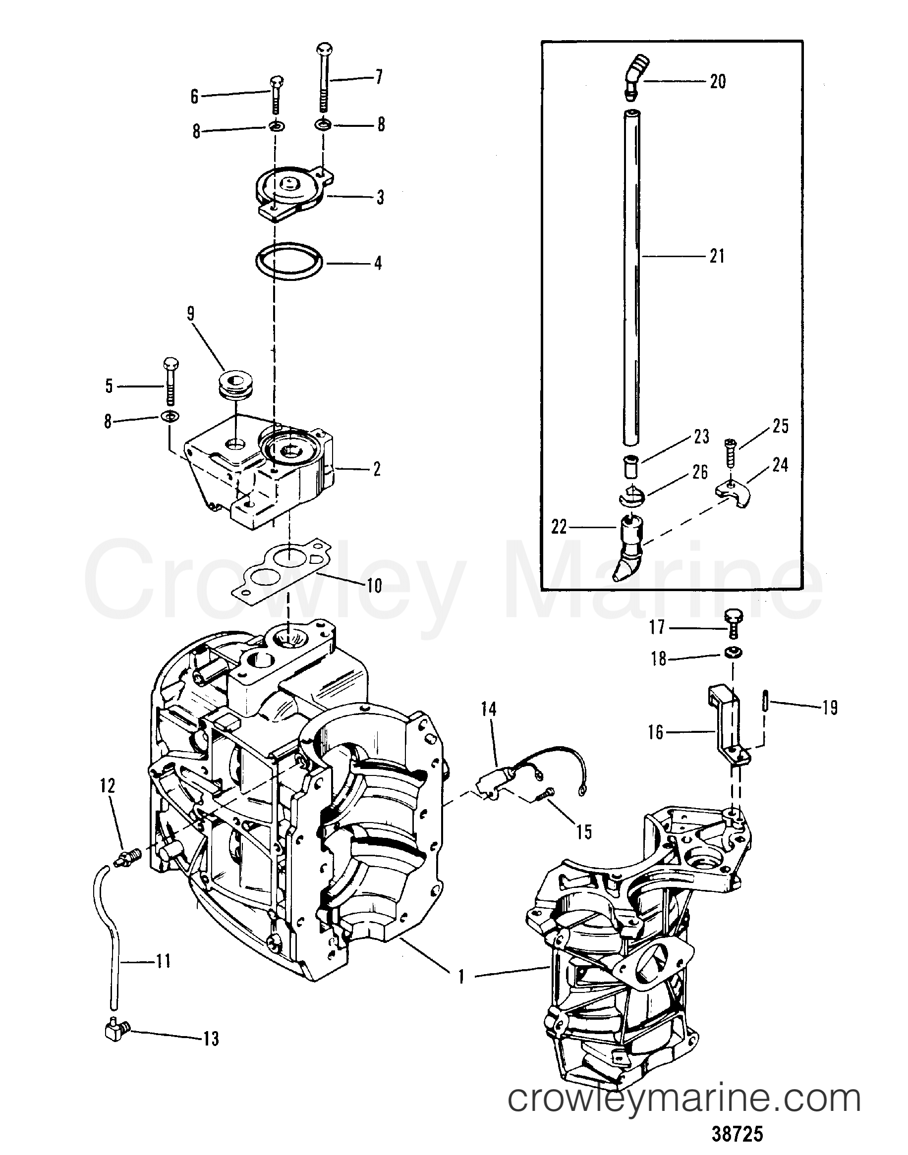 CYLINDER BLOCK AND THERMOSTAT - 1987 Mercury Outboard 35