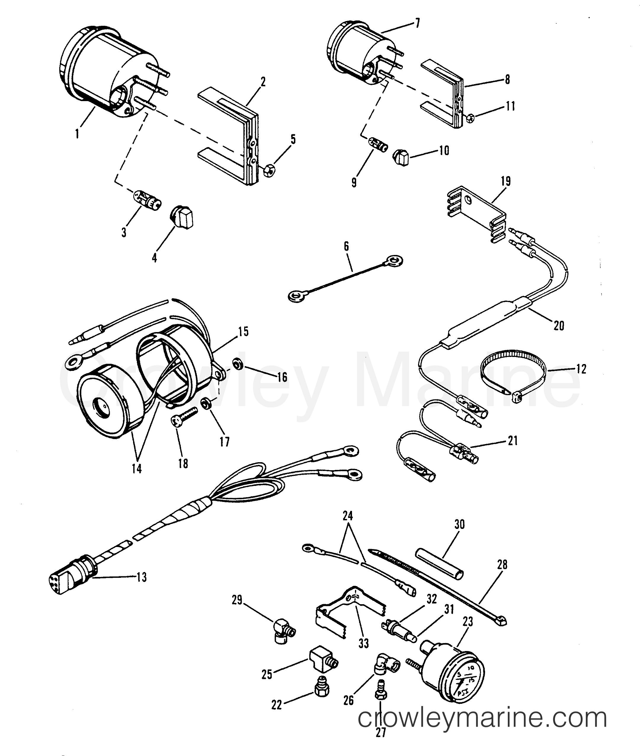 1993 Hors-bord de course Mercury 2.5 [L EFI] - 7925211BH INSTRUMENTATION section