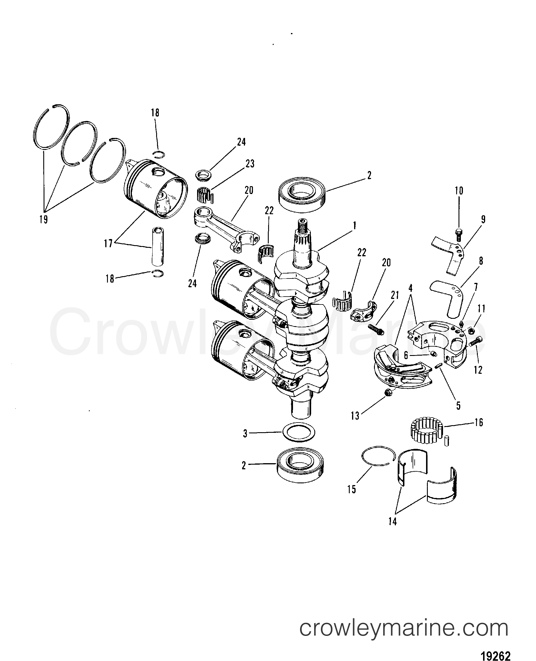 1989 Hors-bord Mariner 60 [ELPTO] - 7060412PC - VILEBREQUIN, PISTONS ET BIELLE section