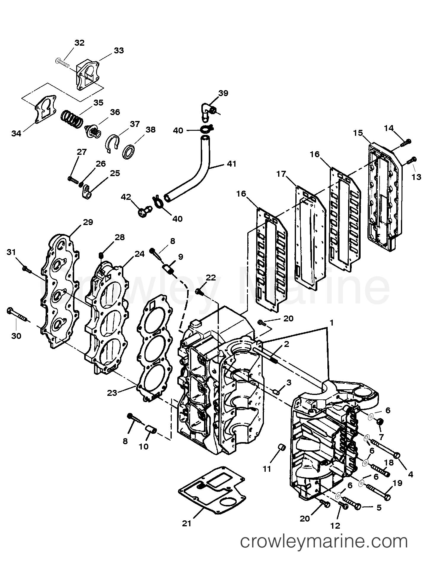 cylinder block assembly serial 0e181483 thru 0e287999 1996 rh crowleymarine com Engine Diagram for Outboard Engines Outboard Engine Parts Diagram