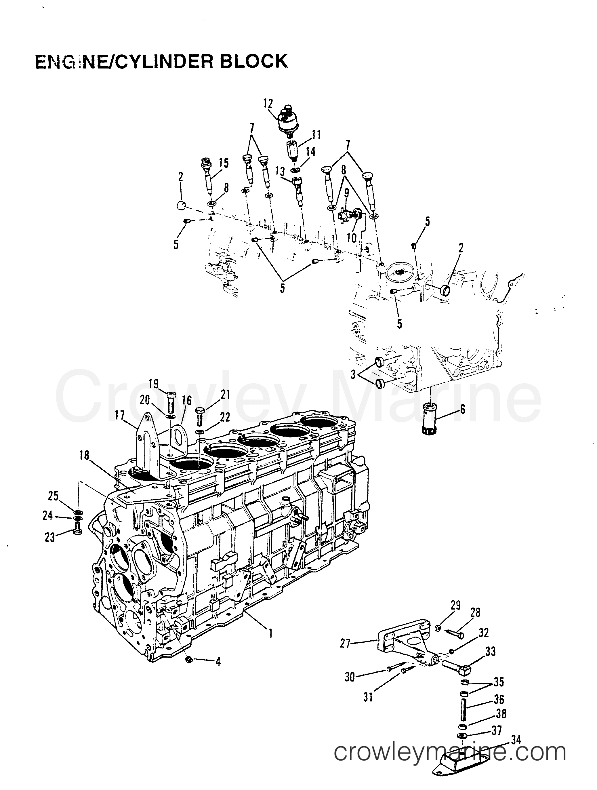 1991 Mercury Inboard Engine 642D - 34232C5DD ENGINE/CYLINDER BLOCK section