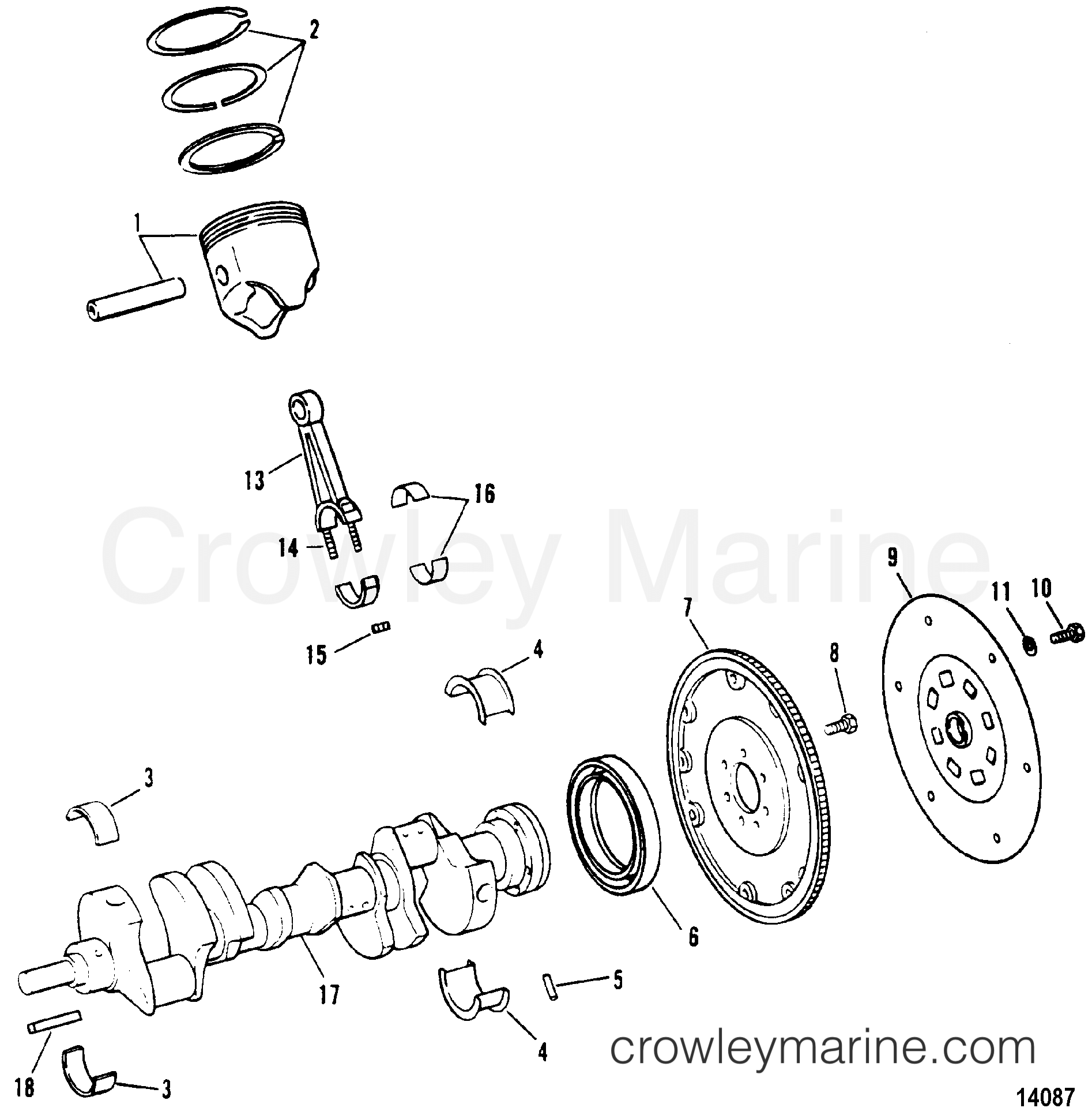 1994 Mercury Inboard Engine 7.4L [CARB] - 37431L6GS CRANKSHAFT, PISTONS AND CONNECTING RODS section