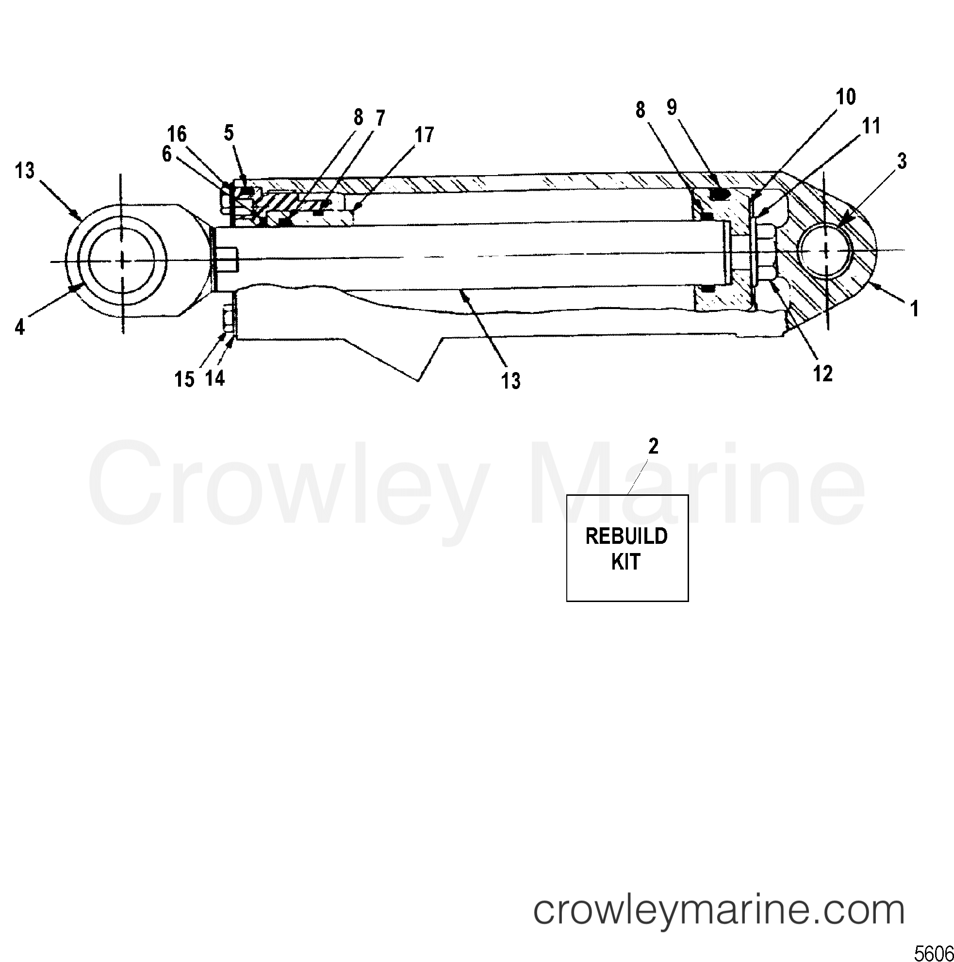 1994 Mercruiser Race Sterndrive SSM7 [1.474:1] - 5804474GH - STEERING CYLINDER ASSEMBLY section