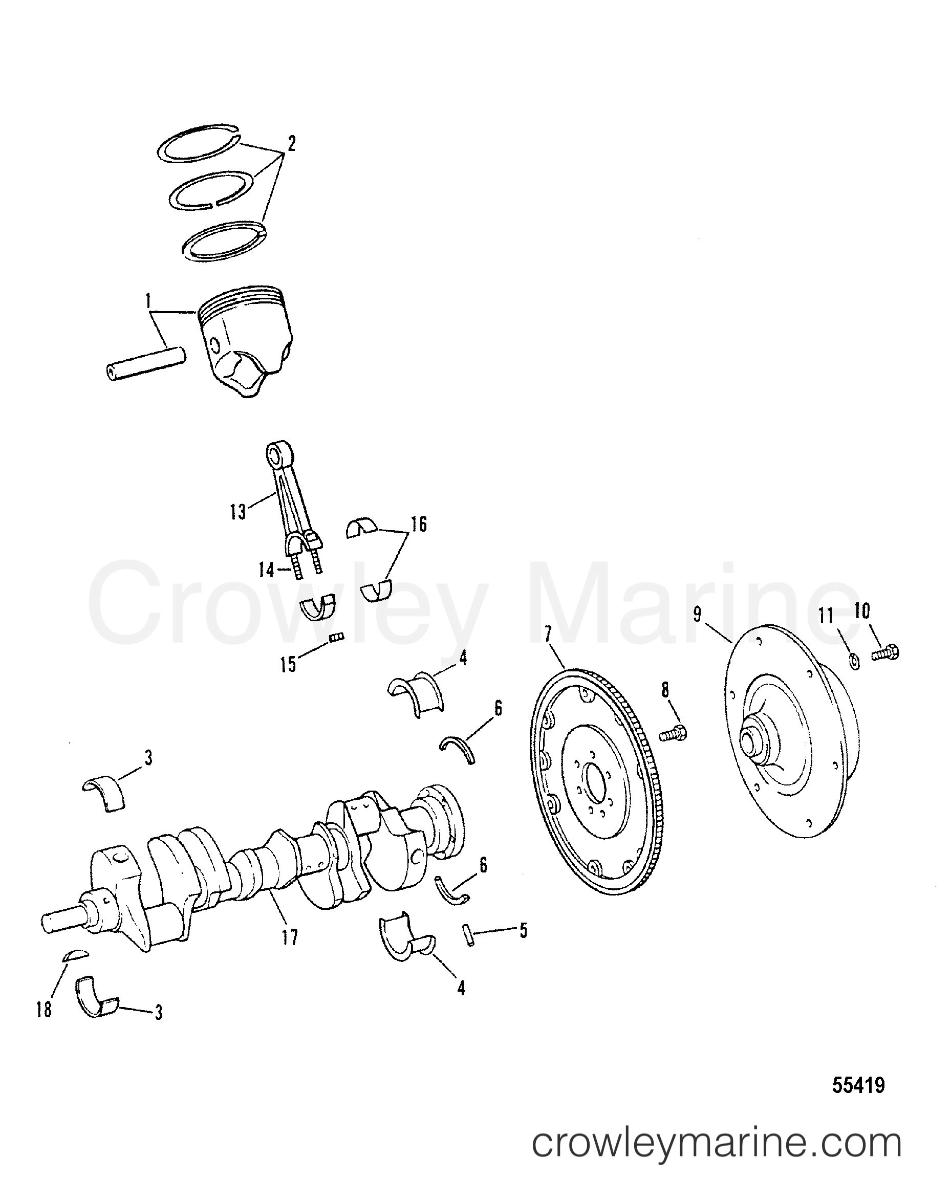 CRANKSHAFT, PISTONS AND CONNECTING RODS - 1988 Mercruiser 454 [BRAVO