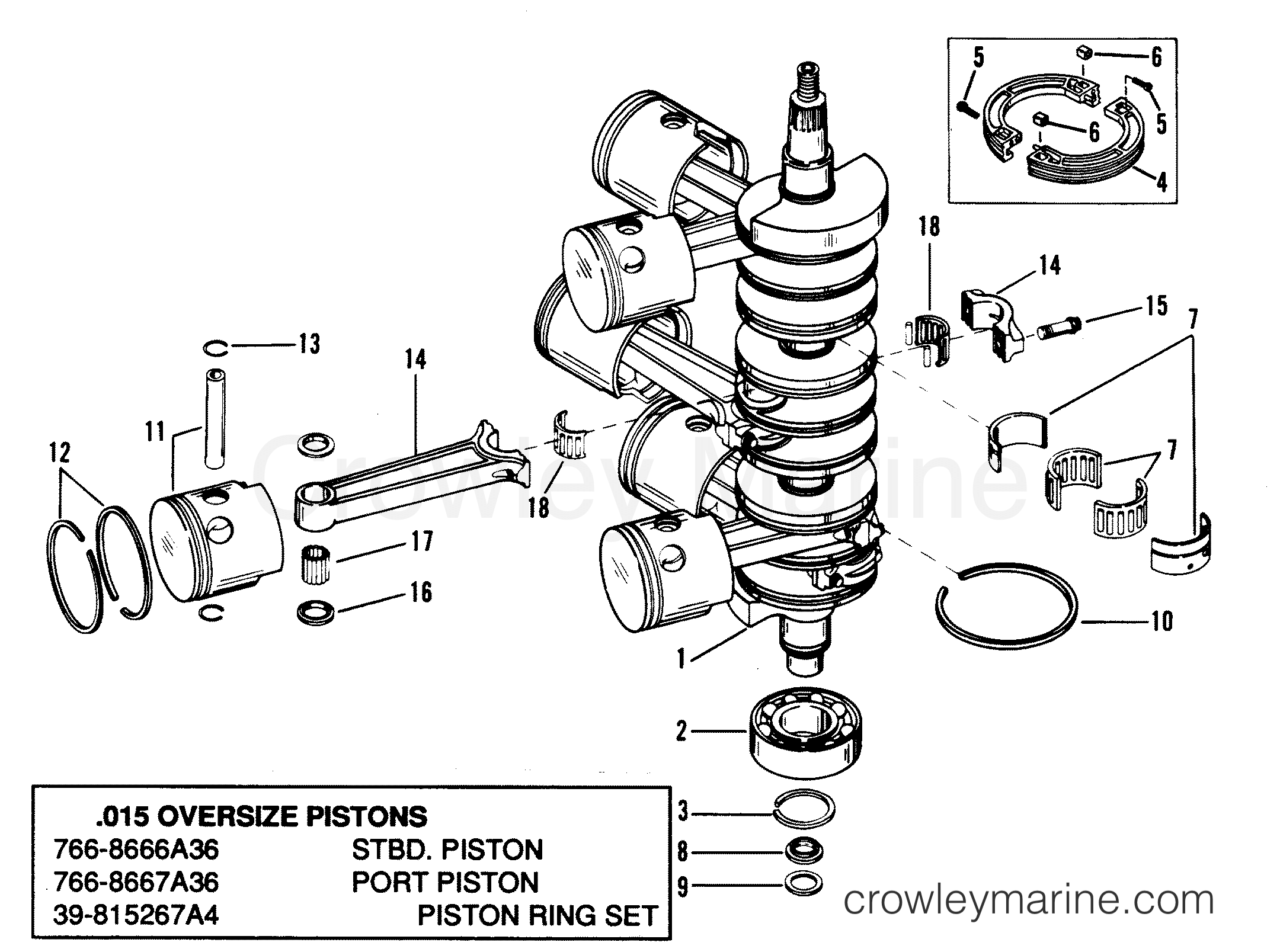 Crankshaft Pistons And Connecting Rods 1989 Mariner Outboard Engine Diagram Schedule 175ski L 7175413pd