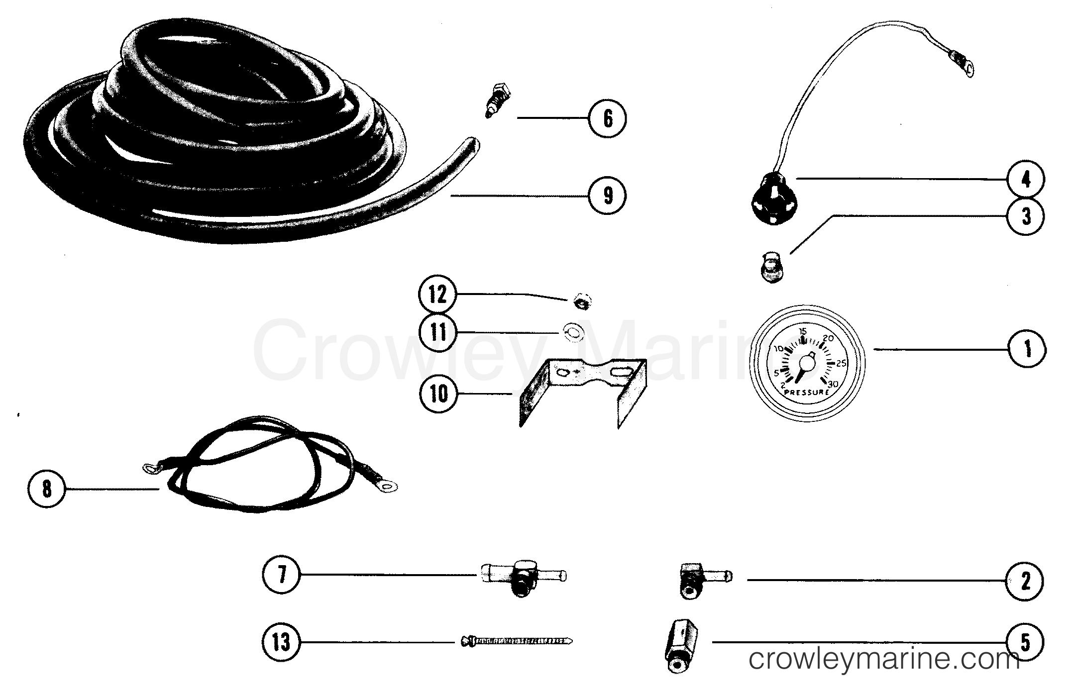 Various Years Rigging Parts Electrical - OB MISC. (1985 AND BELOW) - WATER PRESSURE GAUGE ASSEMBLY section