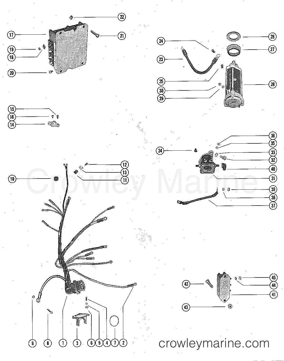 Starter Motor Solenoid Rectifier And Wiring Harnes 4 Wire Diagram Serial Range Mercury Outboard 1350 2839369 Thru 3293233