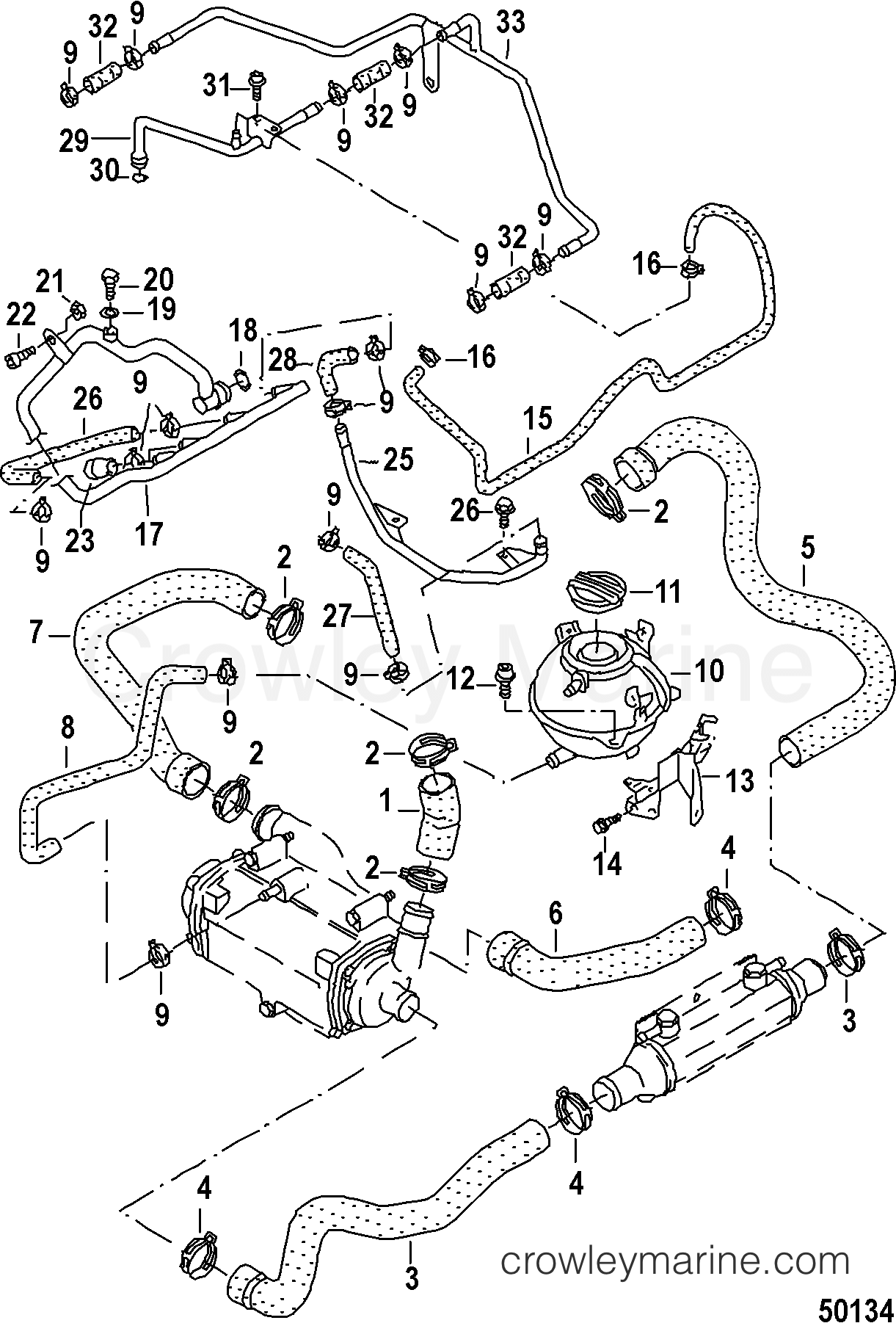 water hoses and pipes 2013 mercruiser 3 0l tdi 4d300007d crowley Mercruiser Impeller Diagram 2013 mercruiser 3 0l tdi 4d300007d water hoses and pipes section