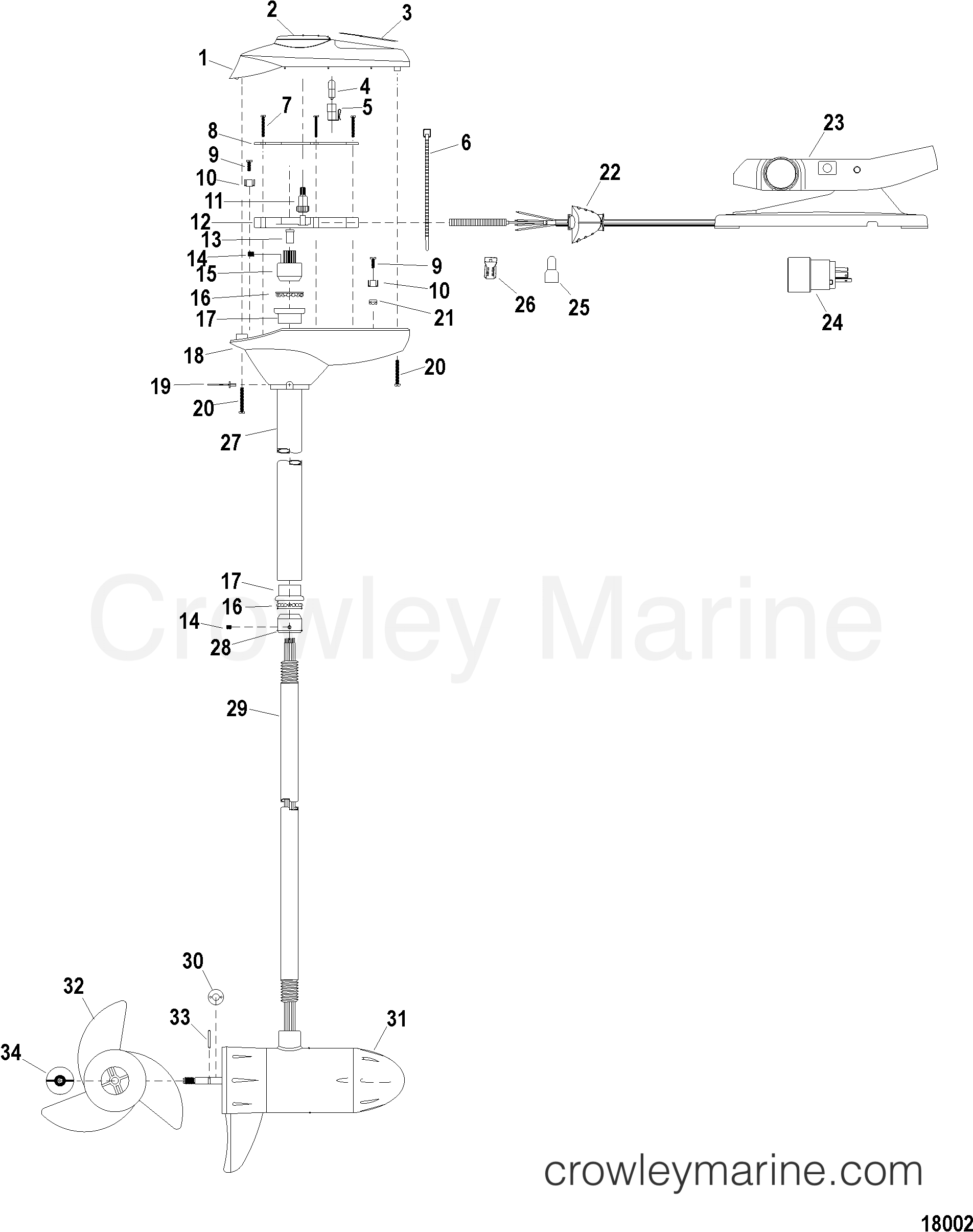 2005 MotorGuide 12V [MOTORGUIDE] - 921310040 COMPLETE TROLLING MOTOR(MODEL FW54FB) (12 VOLT) section