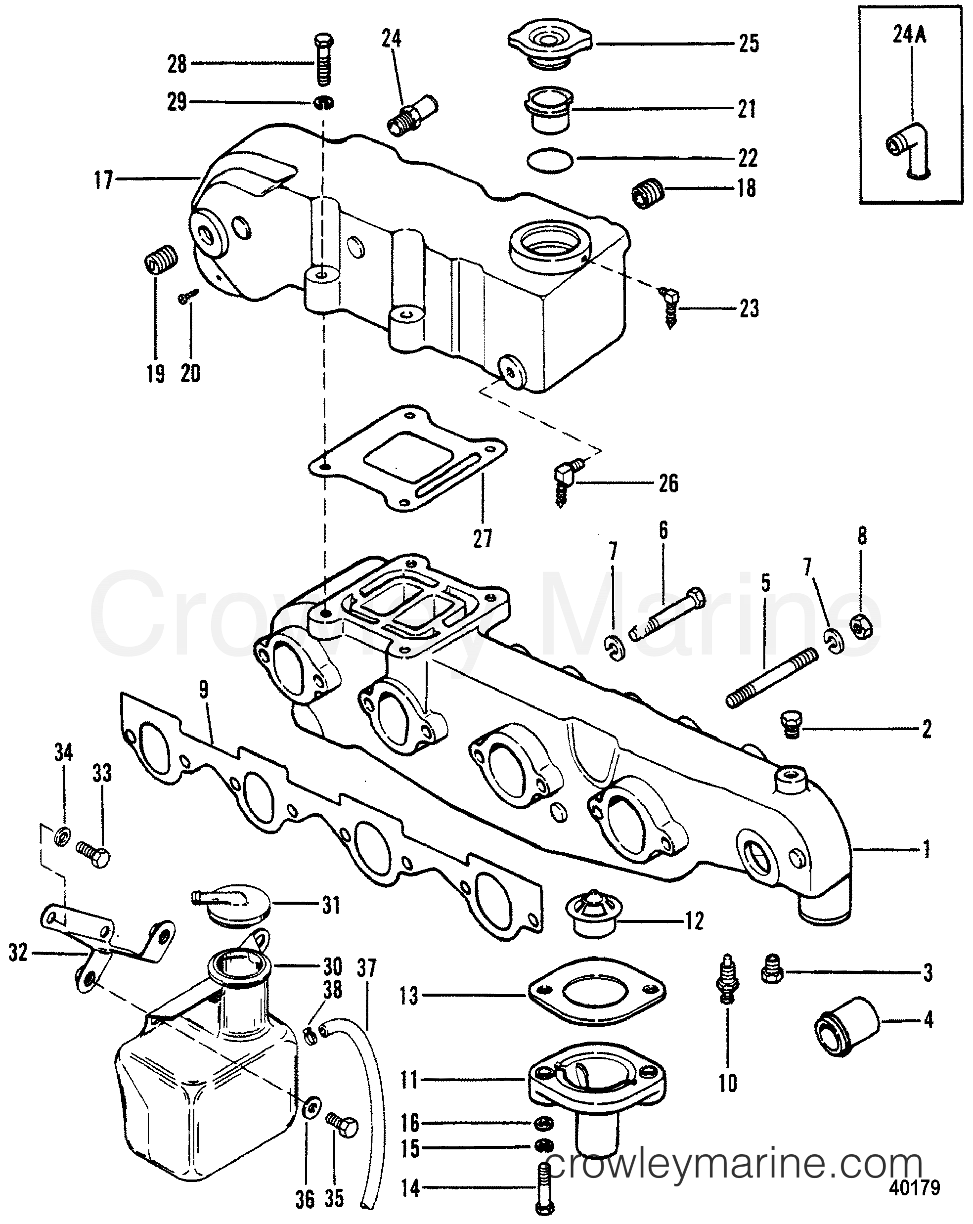 1983 Mercruiser 470 - 04707333 - EXHAUST MANIFOLD AND EXHAUST ELBOW section