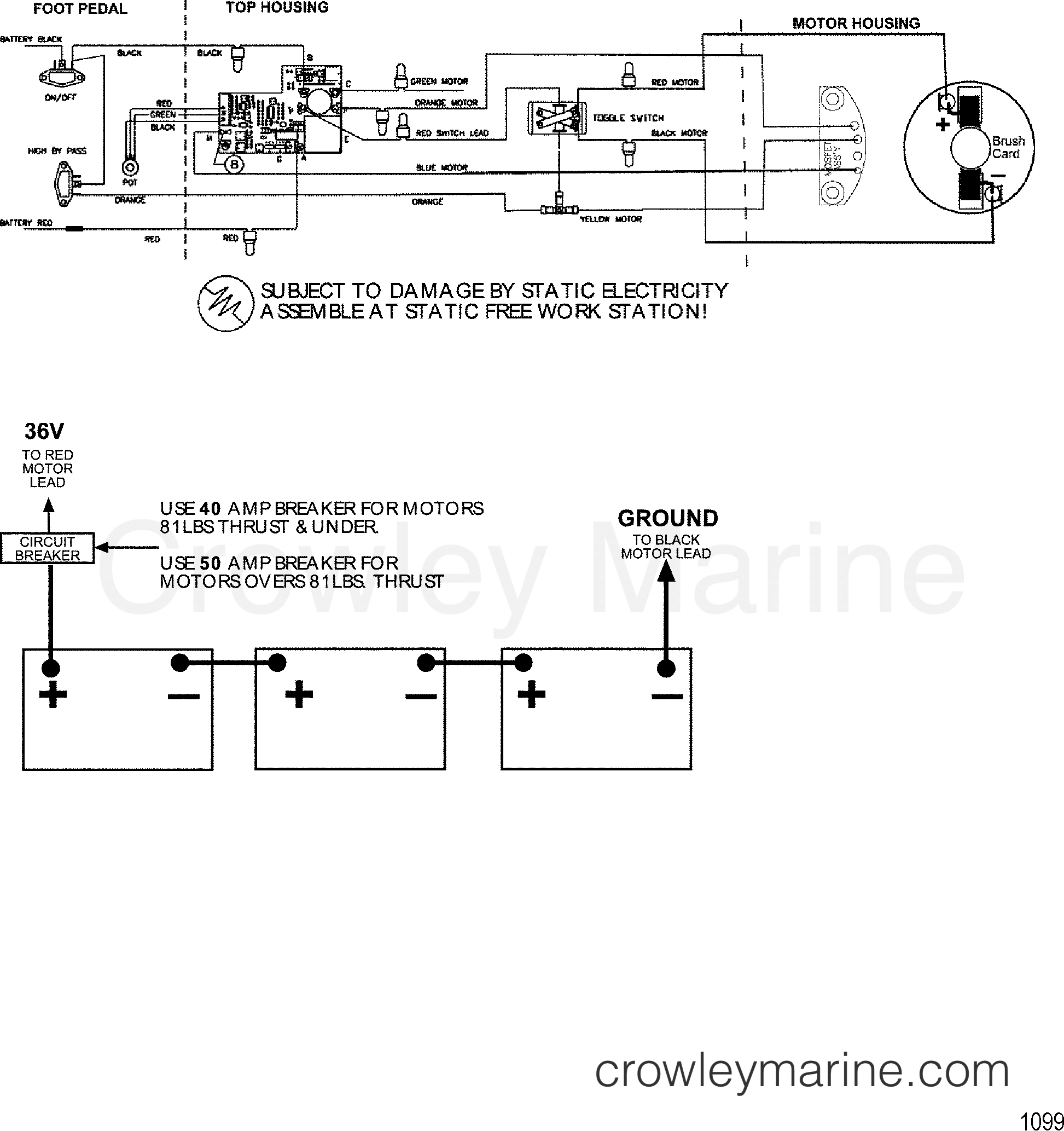 WIRE DIAGRAM(MODEL 6109V) (36 VOLT) - 1999 MotorGuide 12/24V ... on light switch wiring diagram, coleman air conditioning wiring diagram, 11.1v wiring diagram, 24 volt starter wiring diagram, 20v wiring diagram, 24 volt relay wiring diagram, bass tracker electrical wiring diagram, 72v wiring diagram, 70v speaker wiring diagram, minn kota 24 volt wiring diagram, 36v wiring diagram, 220vac wiring diagram, 120vac wiring diagram, 24 volt alternator wiring diagram, 12 volt boat wiring diagram, carrier air handler wiring diagram, 38v wiring diagram, 125v wiring diagram, 30a wiring diagram, 24 volt thermostat wiring diagram,