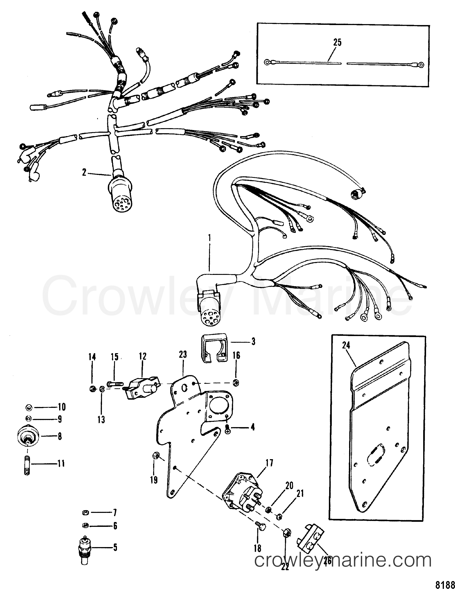 wiring harness and electrical components 1990 mercruiser 3 0l alpha i 430b00001 crowley marine