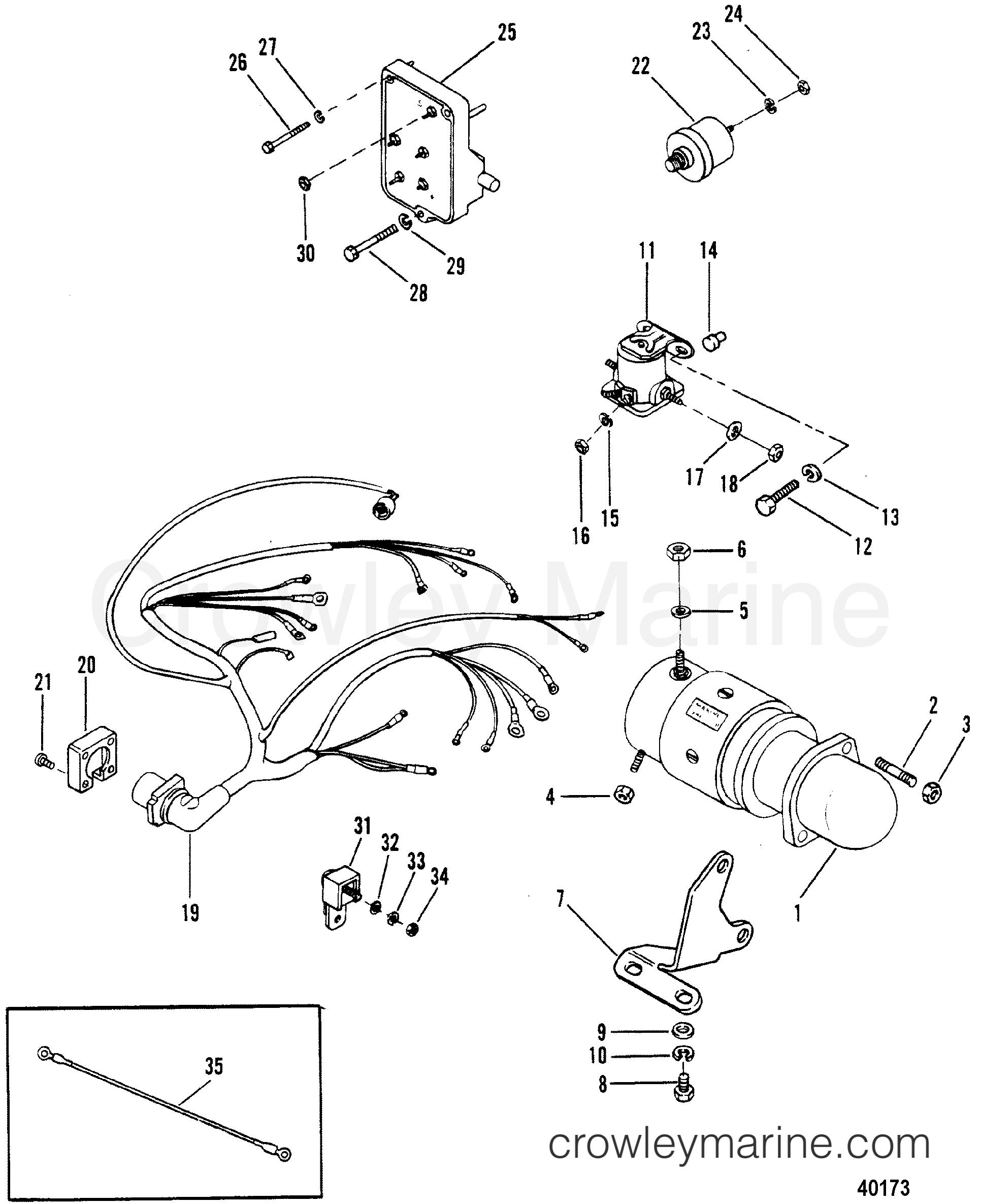 1983 mercury outboard wiring diagram starter motor and wiring harness 1983 mercruiser 470 04707333  starter motor and wiring harness 1983