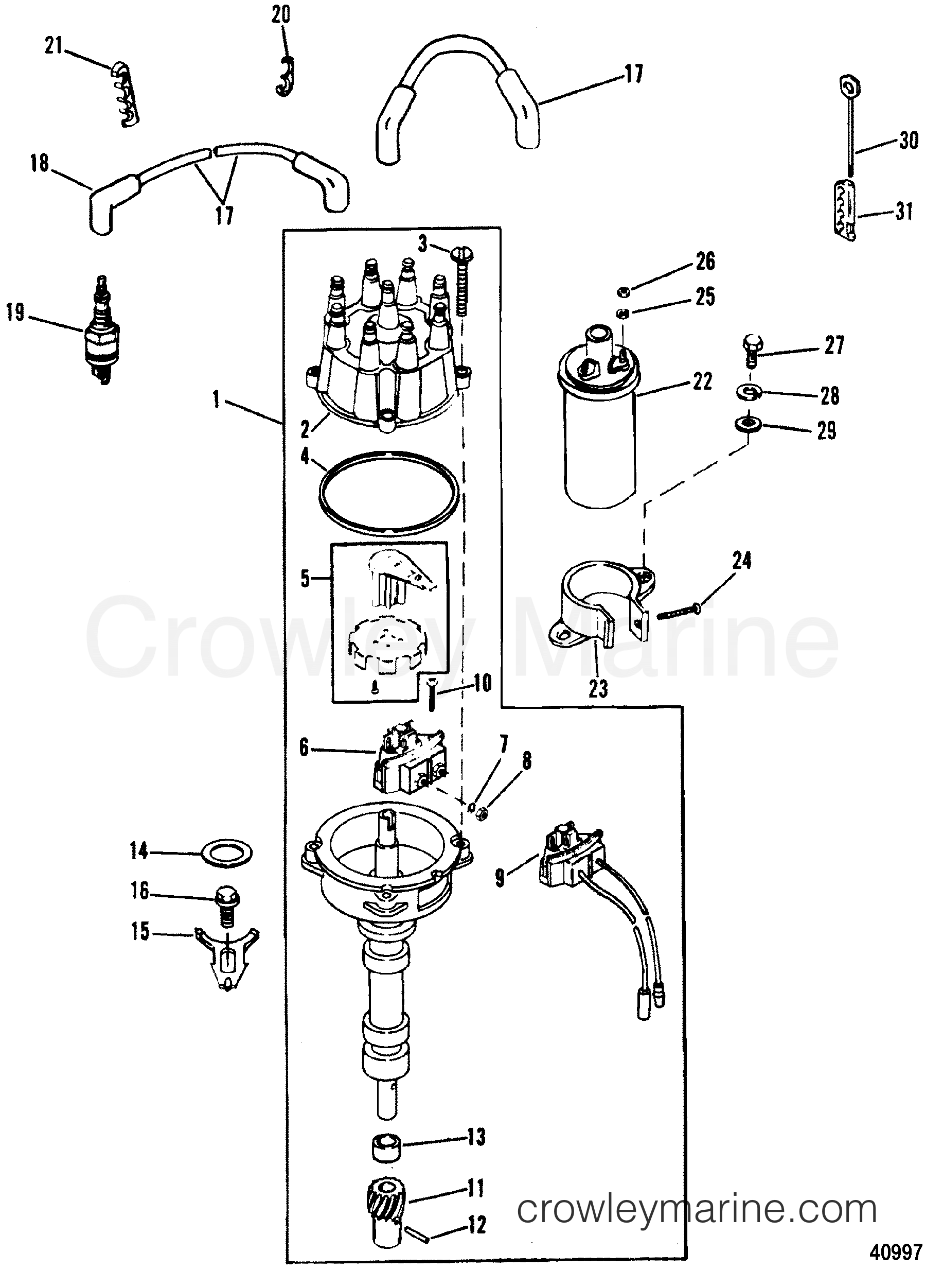distributor ignition components thunderbolt iv ignition 1988 rh crowleymarine com 1986 Mercruiser 4 3 Engine Wiring 4.3 Vortec Mercruiser Slave Solenoid Wiring Diagram