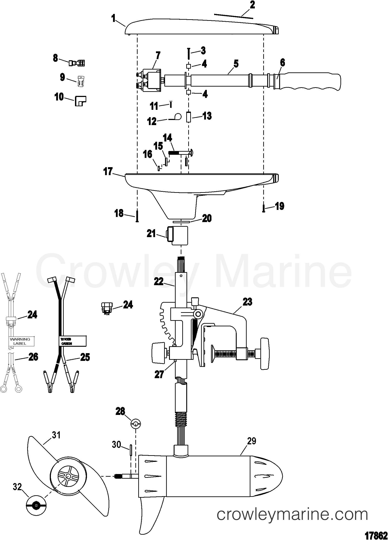 COMPLETE TROLLING MOTOR(MODEL T30) (12 VOLT) - 2004