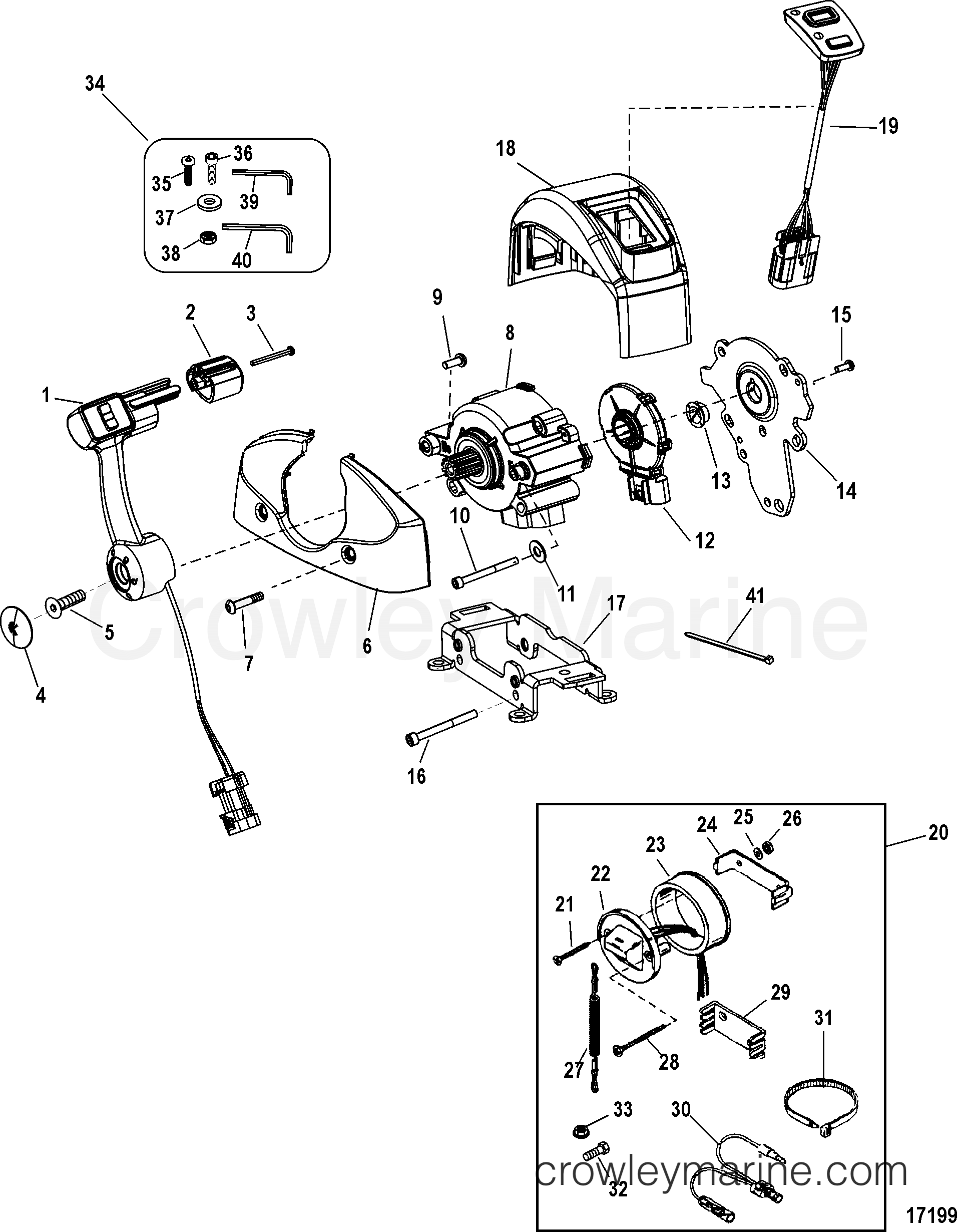 johnson outboard control box parts