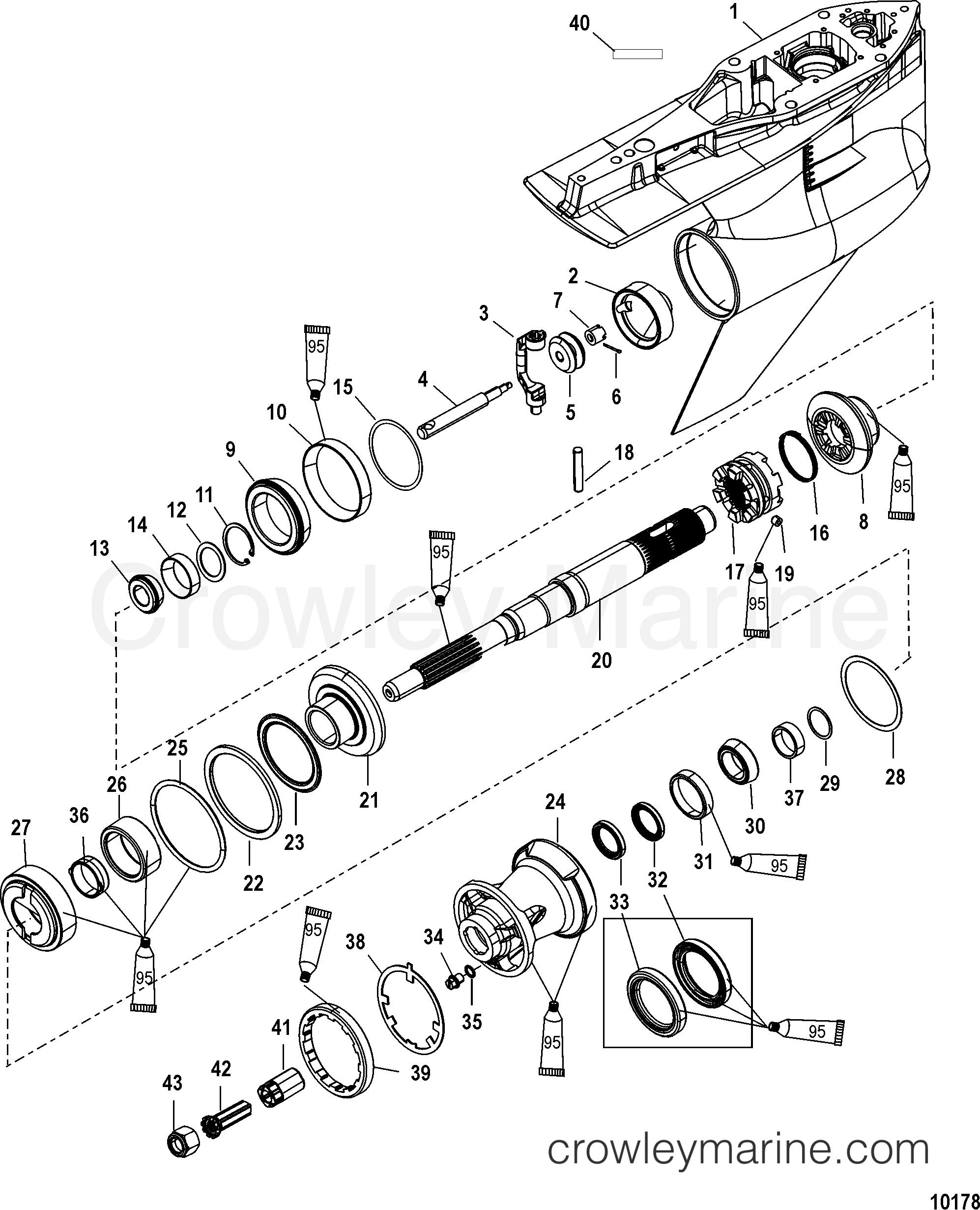 Gear Housing Propeller Shaft Counter Rotation 2006