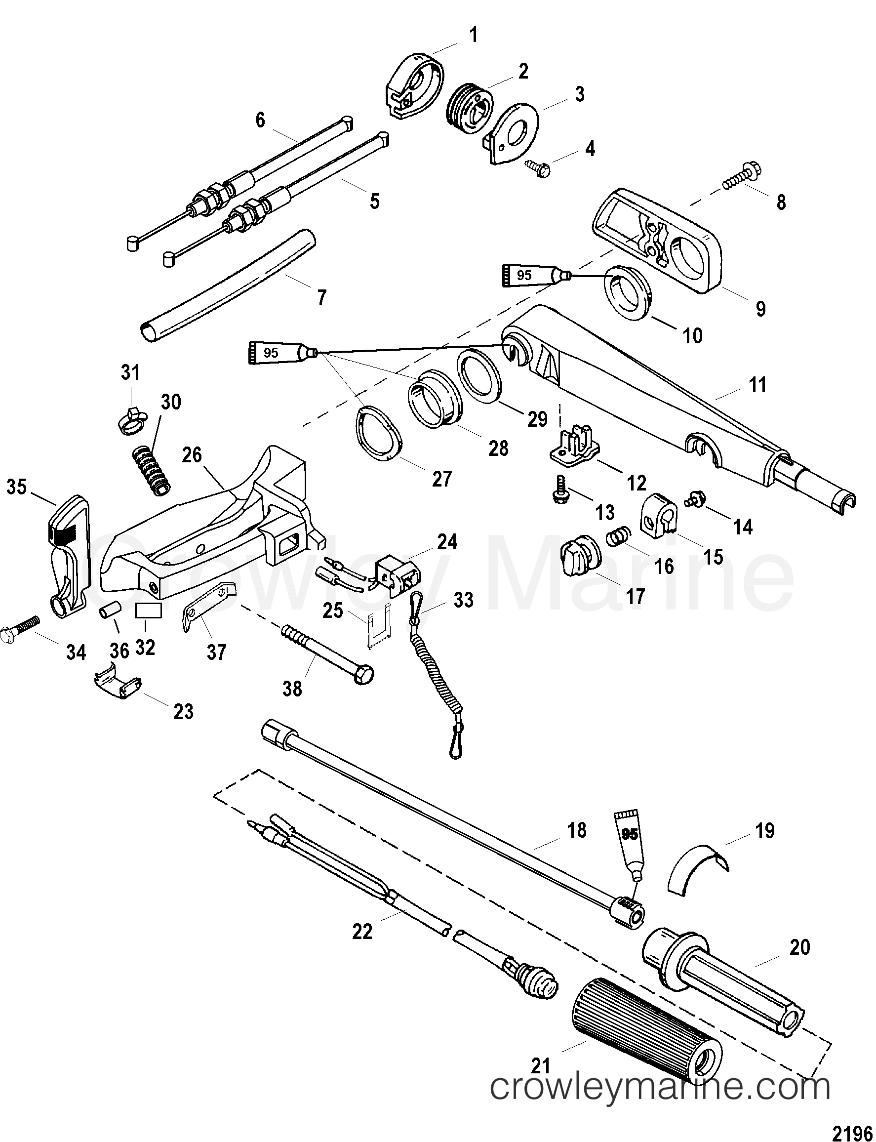 Serial Range Mariner Outboard 40 EFI (4 CYL.)(4-STROKE) - 0P401000 THRU 0P515896 [BEL] - TILLER HANDLE section