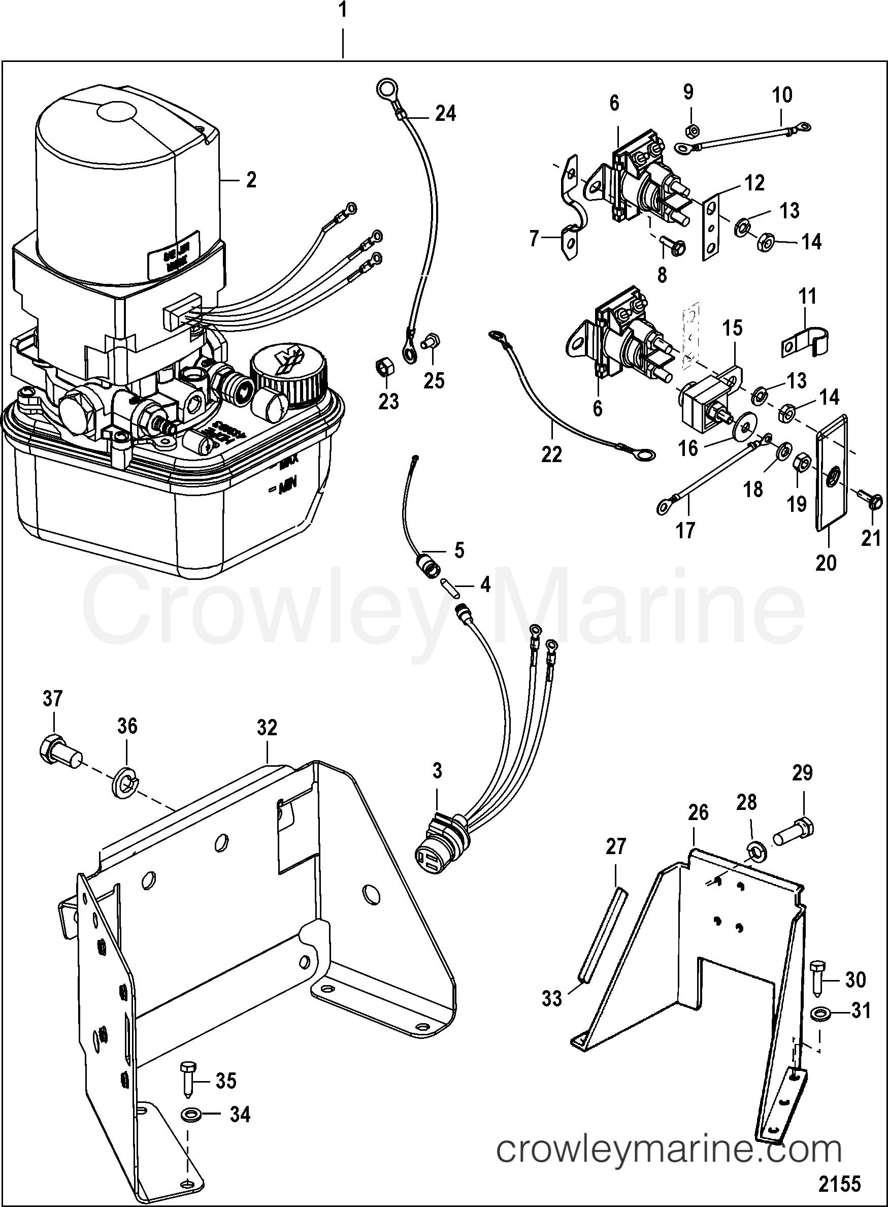 Trim Pump Assembly 14336 Series 2001 Mercruiser Race Sterndrive