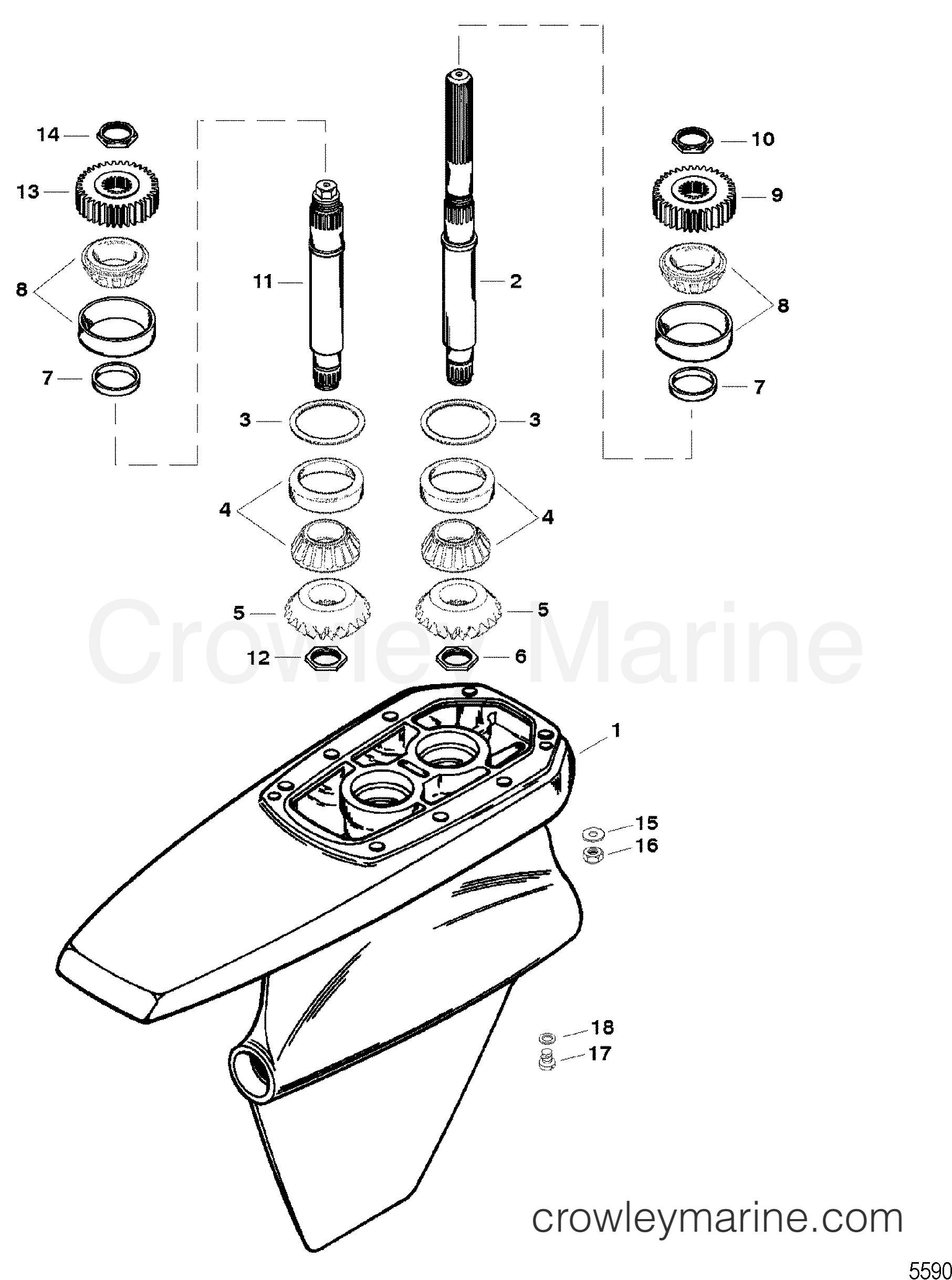 1996 Mercruiser Race Sterndrive SSM6 [1.607:1] - 5614607JH GEAR HOUSING ASSEMBLY(SSM SIX - DRIVESHAFT) section