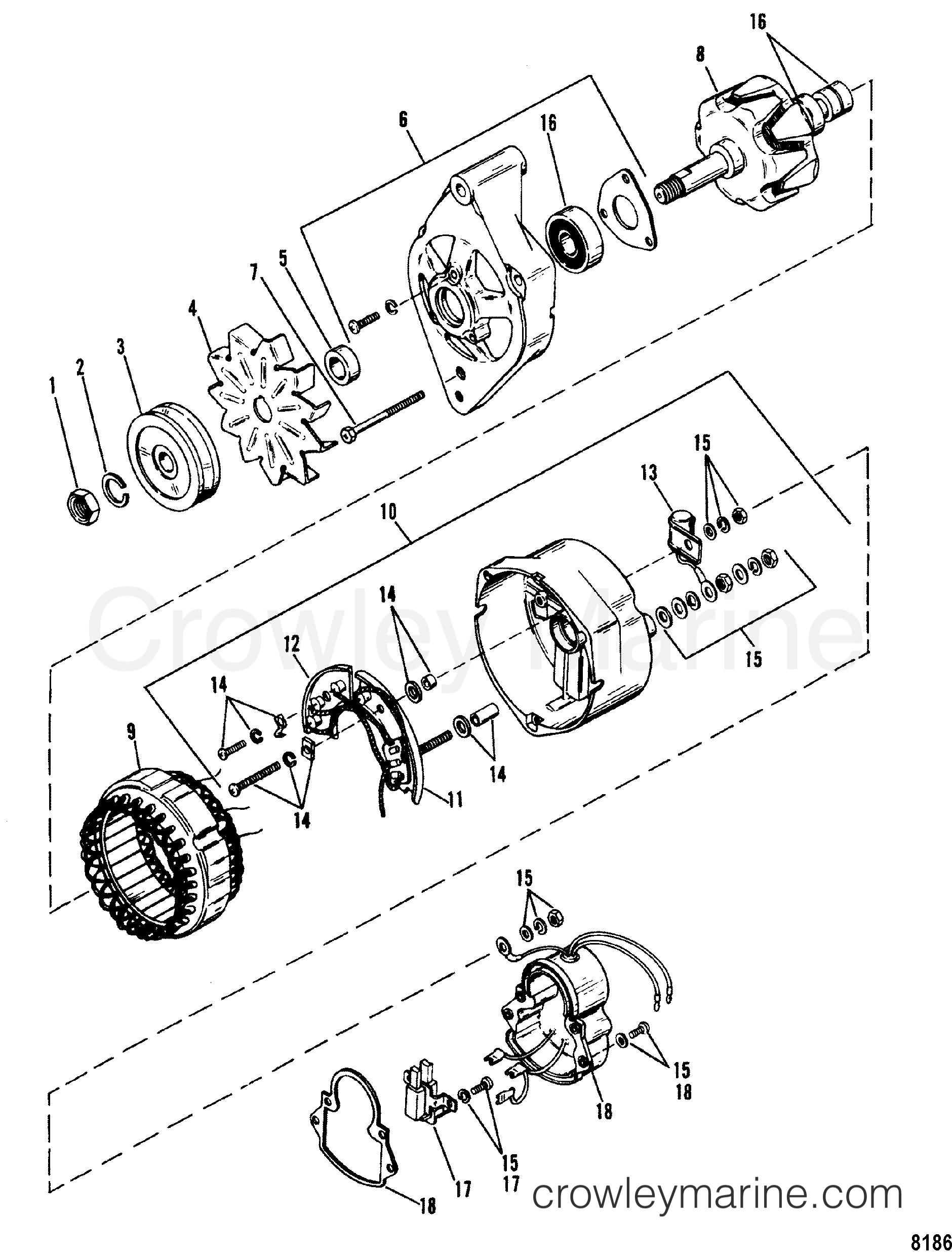 R00lVUxe alternator(mando) ar 150 1992 mercury inboard engine 7 4l