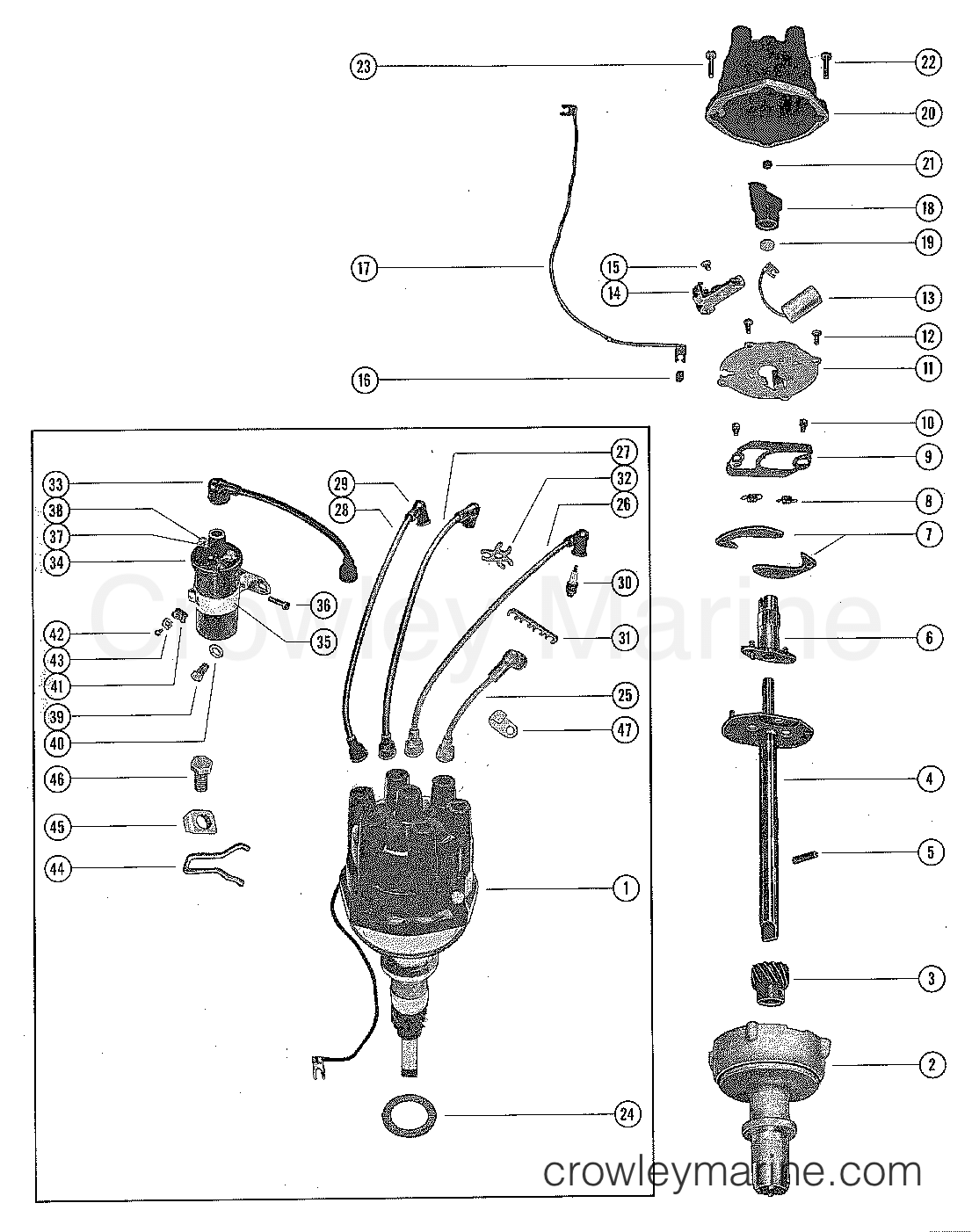 140 mercruiser wiring diagram distributor assembly and coil serial range mercruiser 140 gm 194  serial range mercruiser 140 gm
