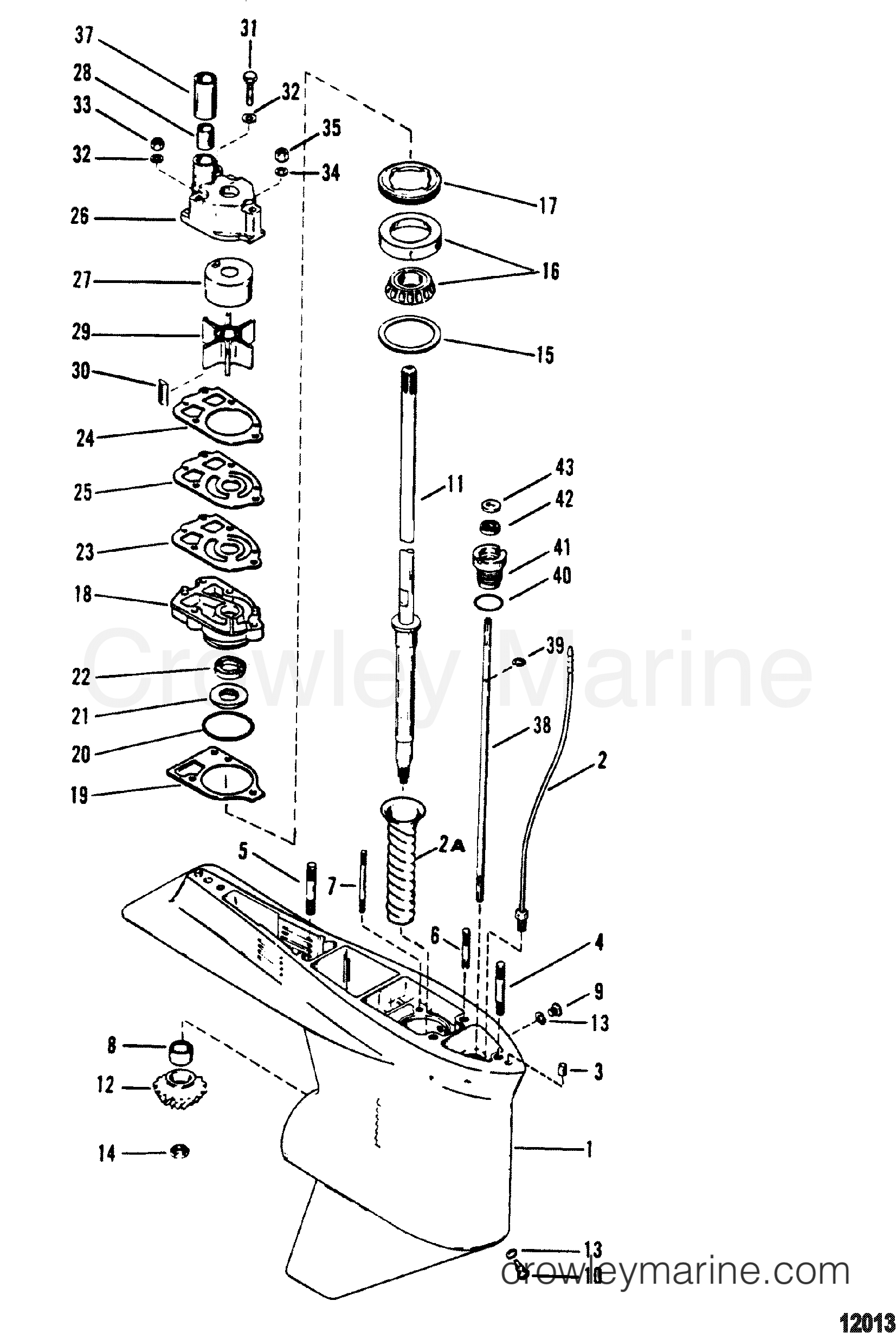 1994 Mercury Outboard 175 [XL] - 1175422PD - GEAR HSG(DRIVESHAFT)(XR6/MAG III - 1.78:1 RATIO) section