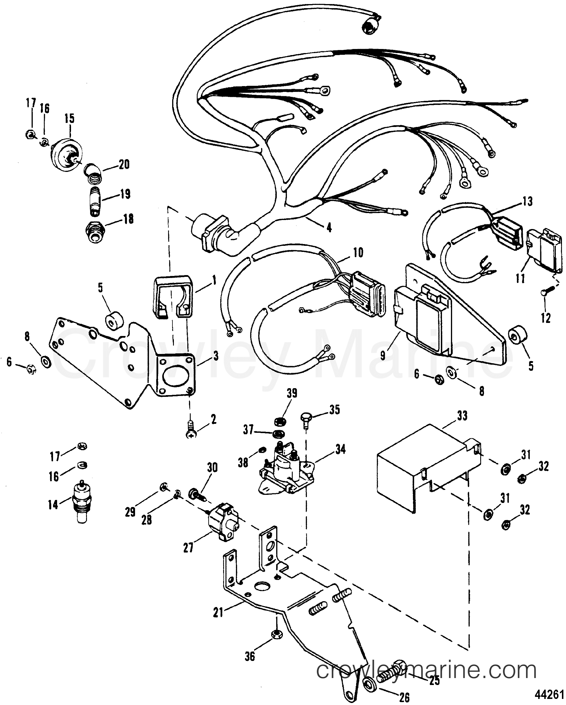 RQhFRzbF wiring harness & electrical components(thunderbolt iv ign ) 1992 mercruiser thunderbolt iv ignition module wiring diagram at gsmx.co